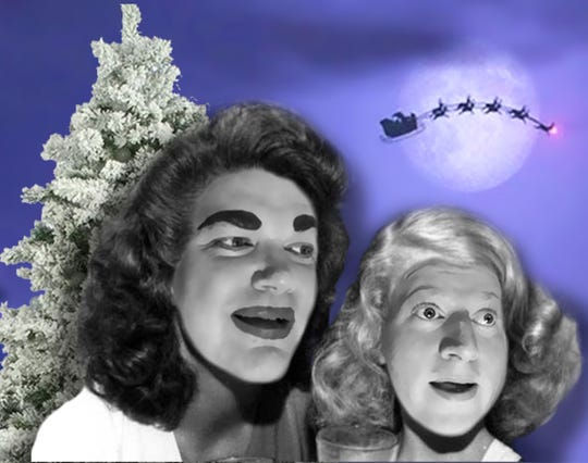 """Joe Bailey, left, as Joan Crawford and Brandy Joe Plambeck as Christina Crawford in the Ringwald Theatre's """"Merry Christmas to Everyone! (Except Christina)."""""""