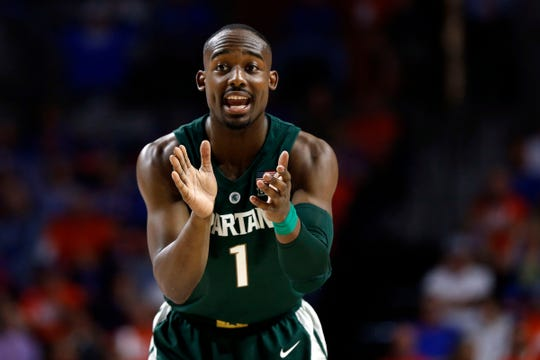 Michigan State guard Joshua Langford gets pumped up against Florida during the first half at Exactech Arena, Dec. 8, 2018, in Gainesville, Fla.