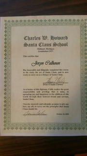 Jeryn Calhoun's certificate from the Charles. W. Howard Santa Claus School