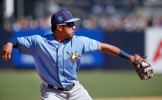 Rays' Kean Wong throws to first for the out against the Yankees, March 4, 2018.