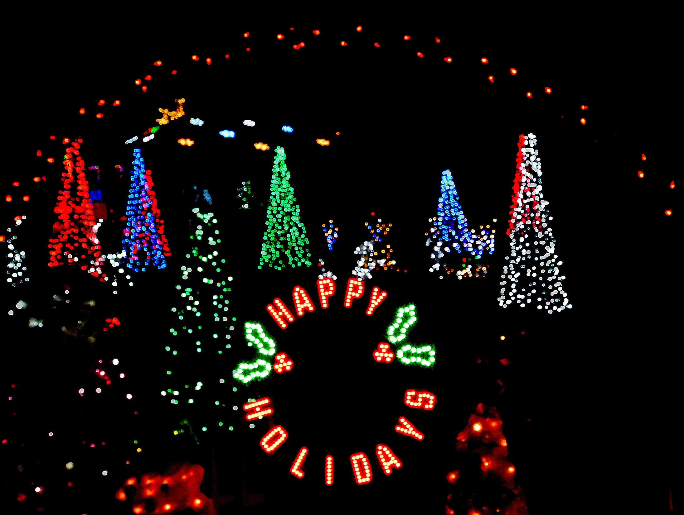 A myriad of lights send a holiday message in front of this home on M57 in Chesaning.