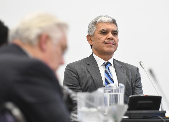 WSU President Roy Wilson during the WSU board meeting.  Wayne State University Board meeting with a vote on extending present WSU President Roy Wilson's contract, which they did approve, at the McGregor Memorial Conference Center at WU in Detroit,  Michigan on December 7, 2018.