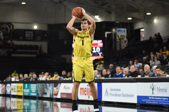 Braden Norris finished with 23 points in Oakland's 95-75 victory over Detroit Mercy Saturday.