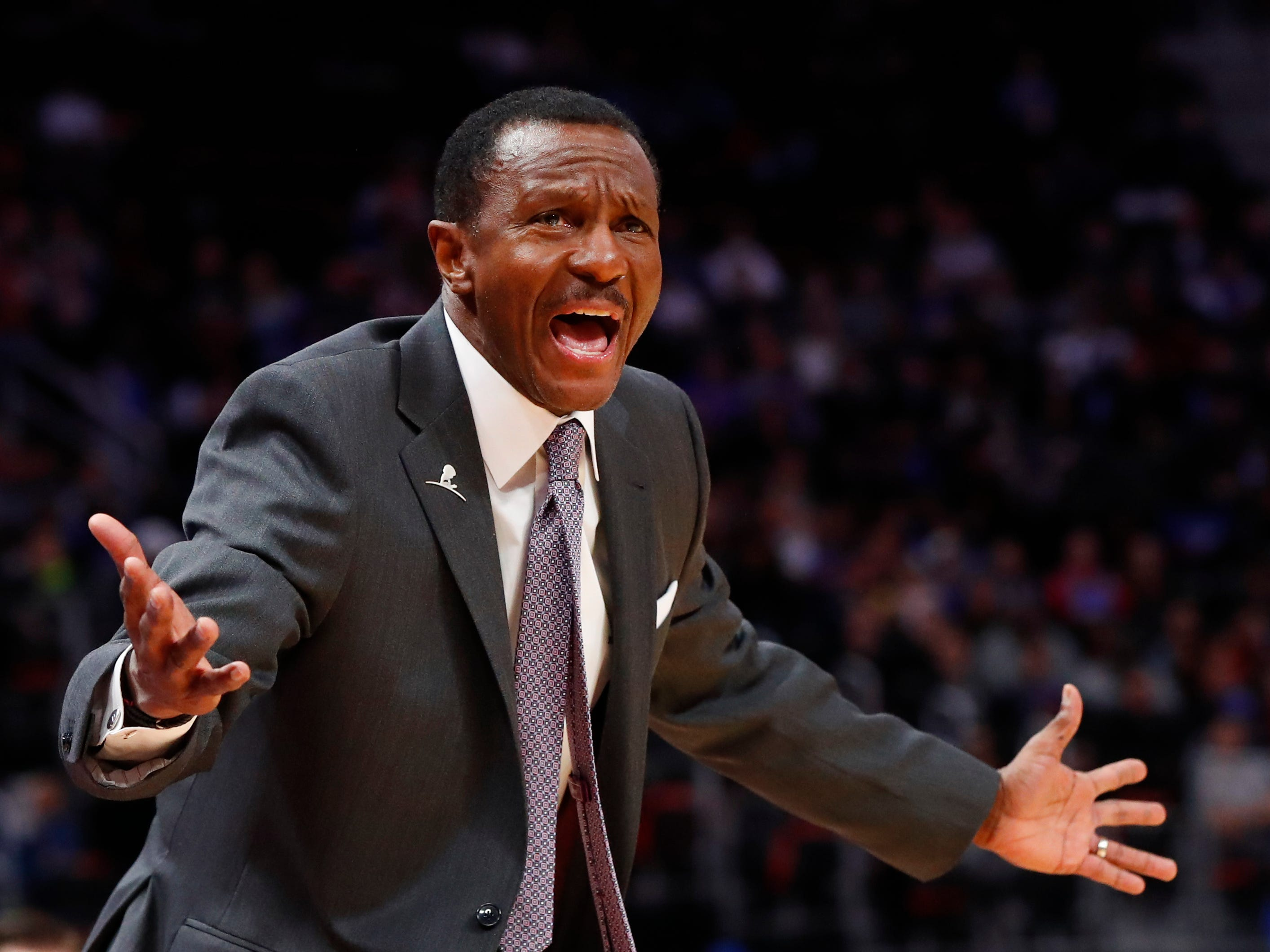 Detroit Pistons head coach Dwane Casey argues a call in the first half.
