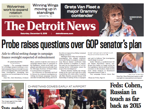The front page of The Detroit News on Saturday, December 8, 2018.