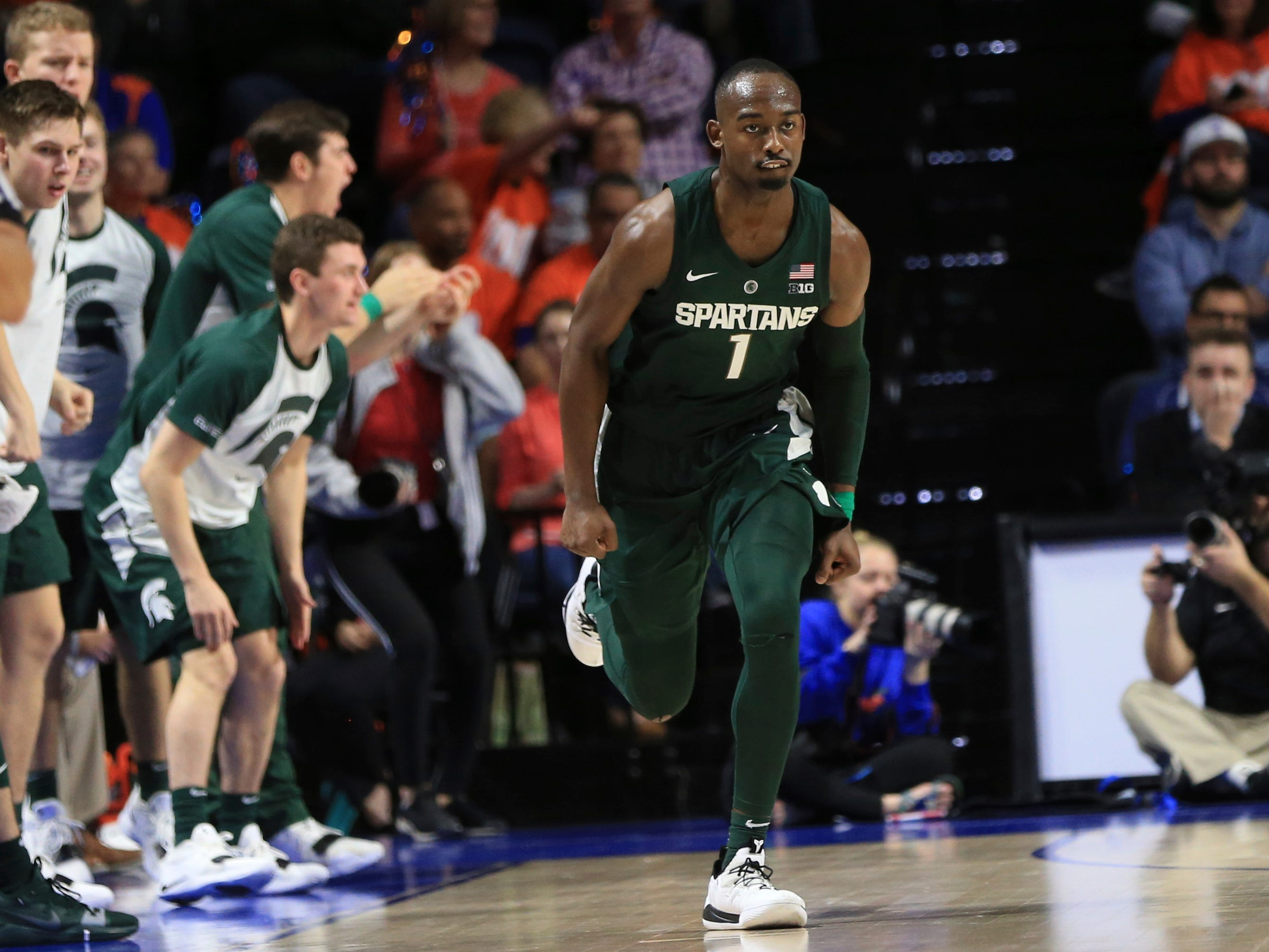 Michigan State guard Joshua Langford (1) celebrates a 3-point shot against Florida during the second half.
