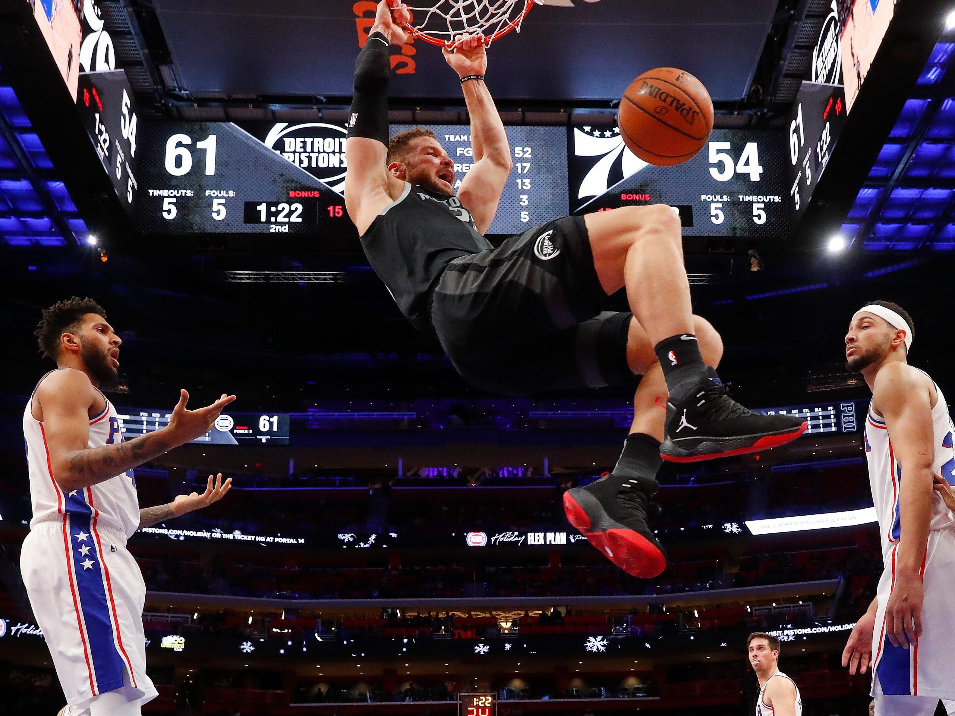 Detroit Pistons forward Blake Griffin (23) dunks against the Philadelphia 76ers in the first half.
