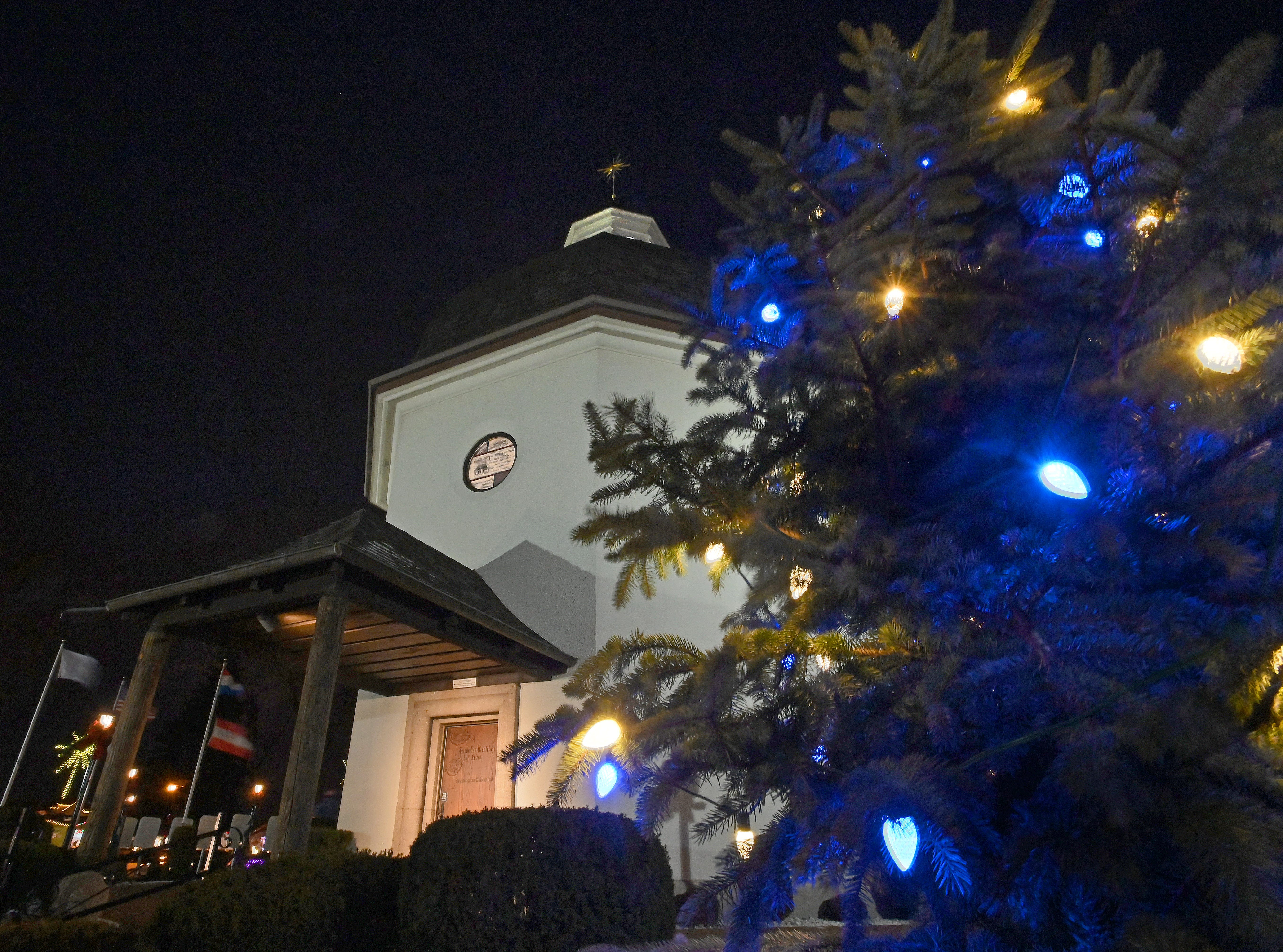 "The ""Silent Night Chapel"" is bathed in Christmas lights in Frankenmuth on Dec 7, 2019."