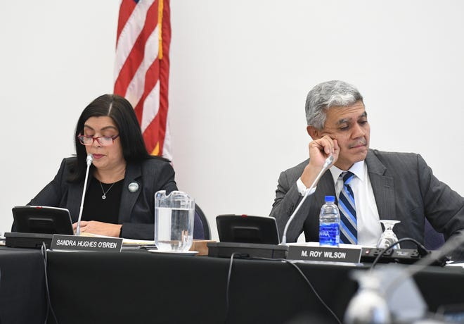 WSU board member Sandra Hughes O'Brien questions parts of President Roy Wilson's contract during the Wayne State University Board meeting at the McGregor Memorial Conference Center  in Detroit, Michigan on December 7, 2018.