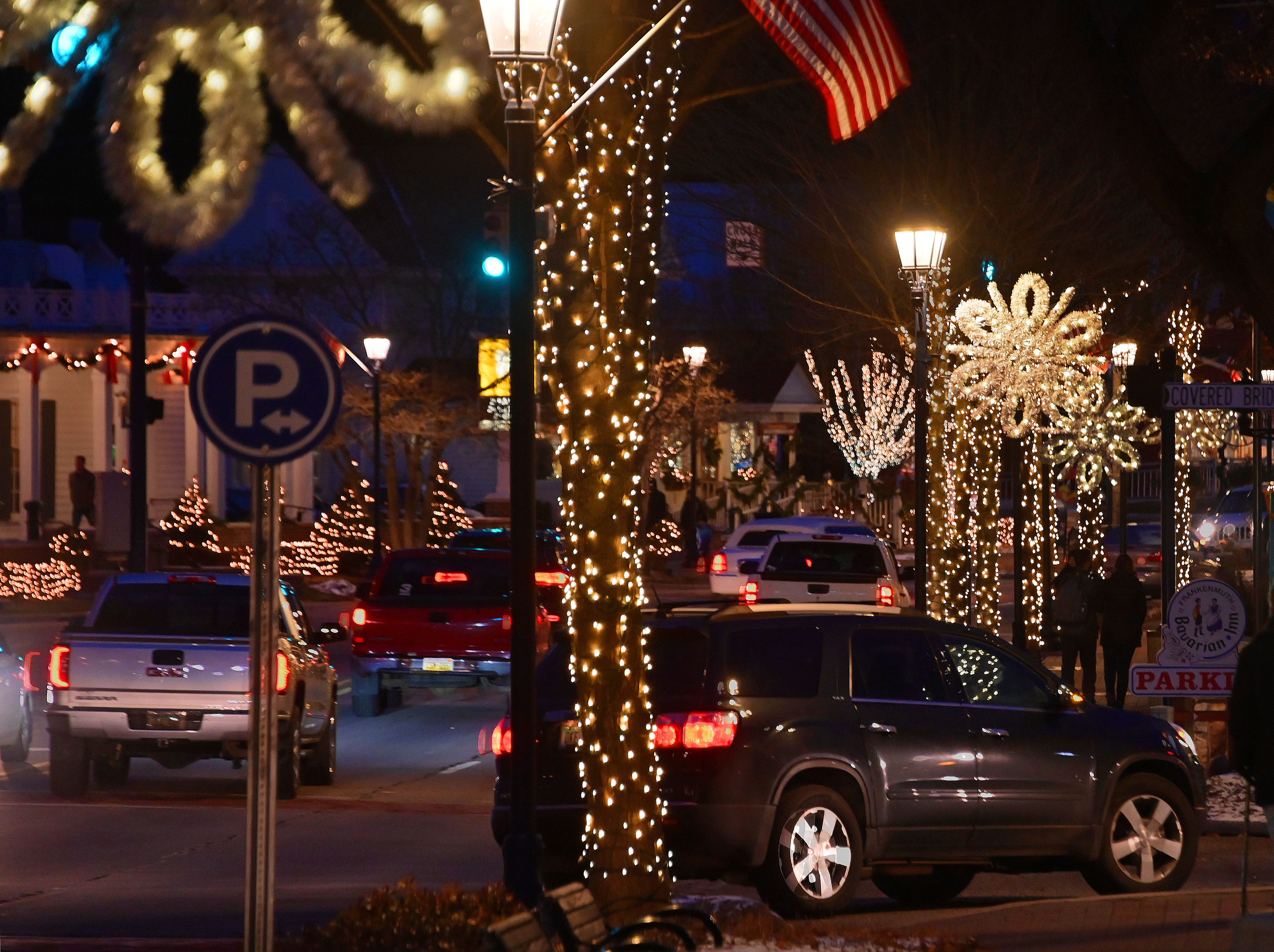 Downtown Frankenmuth is aglow Christmas lights and tail lights Just two weeks before Christmas.