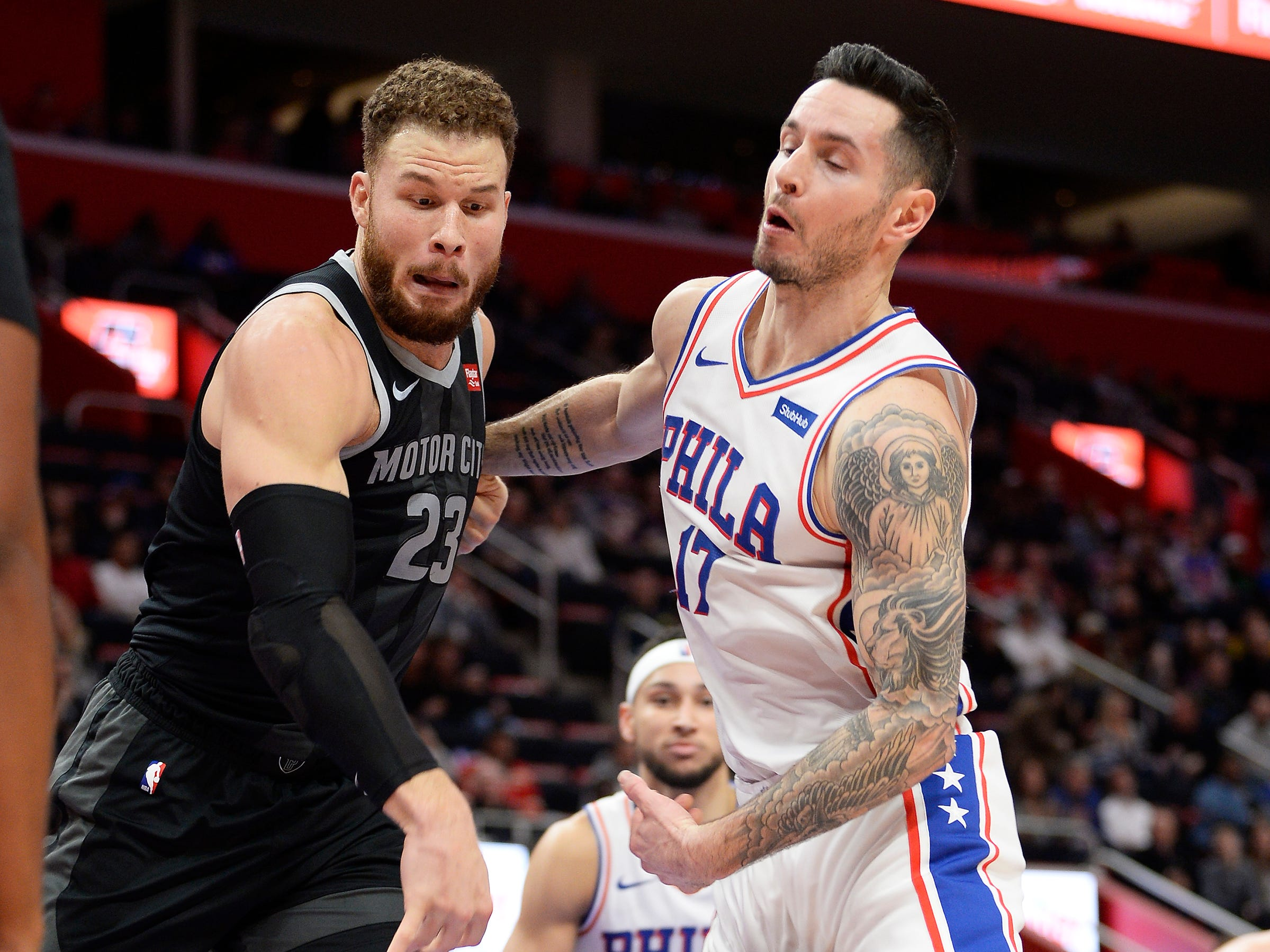 Pistons' Blake Griffin knocks the ball away from 76ers' JJ Redick in the second quarter.