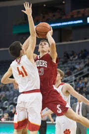 Southridge's Colson Montgomery (23) takes a shot during the Mater Dei vs Southridge game of the inaugural River City Showcase at the Ford Center Saturday, Dec. 8, 2018.
