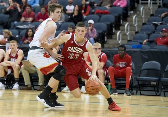 Southridge's Colson Montgomery (23) drives the ball during the Mater Dei vs Southridge game of the inaugural River City Showcase at the Ford Center Saturday, Dec. 8, 2018.