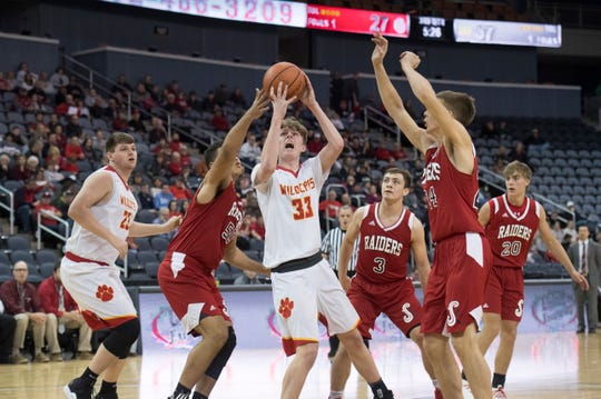 Mater Dei's Jackson Hiester (33) takes a shot during the Mater Dei vs Southridge game of the inaugural River City Showcase at the Ford Center Saturday, Dec. 8, 2018.