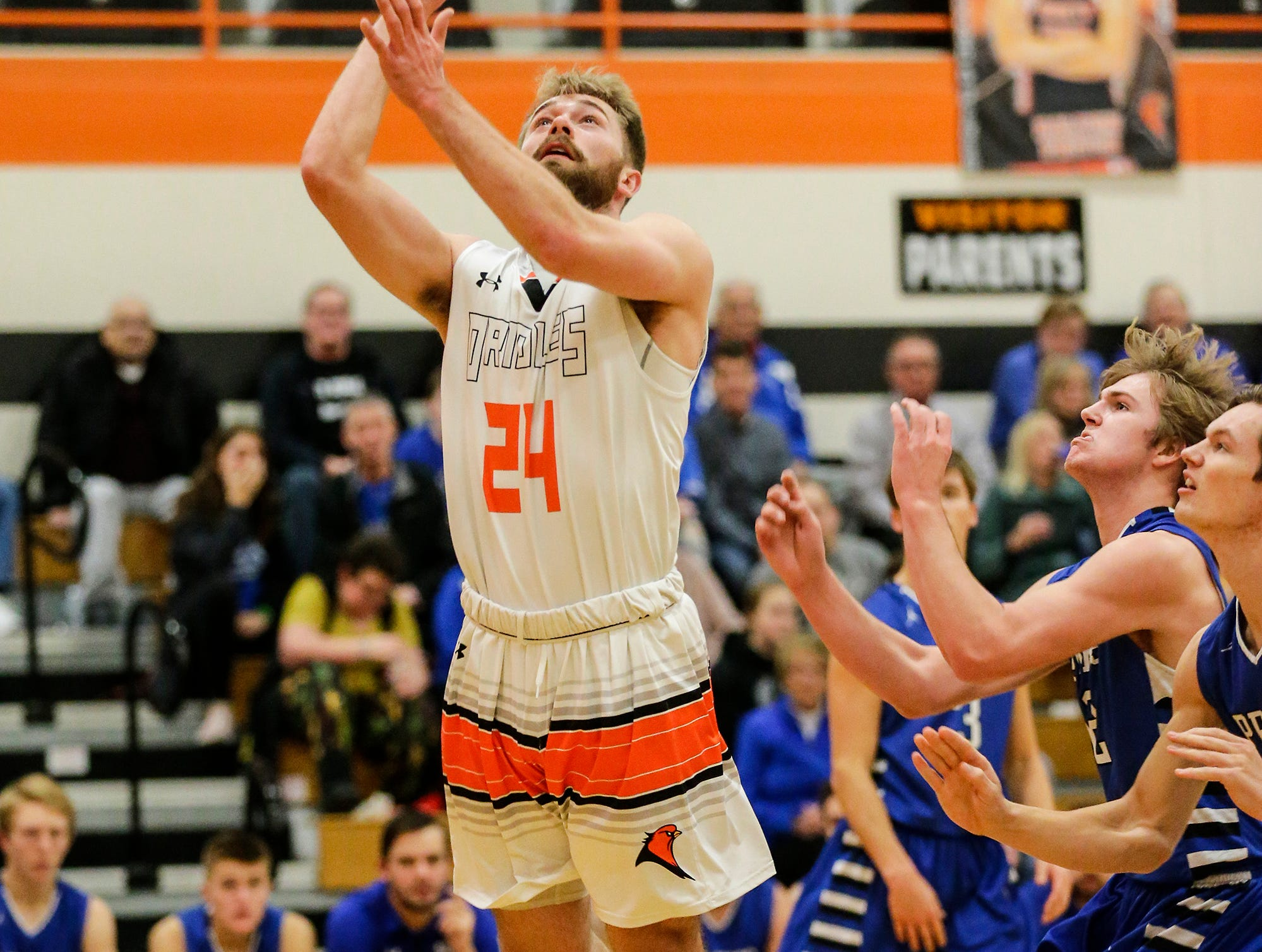 North Fond du Lac High School boys basketball's Alex Zander goes up for a basket against St. Mary's Springs Academy during their game Friday, December 7, 2018 in North Fond du Lac, Wisconsin. Doug Raflik/USA TODAY NETWORK-Wisconsin