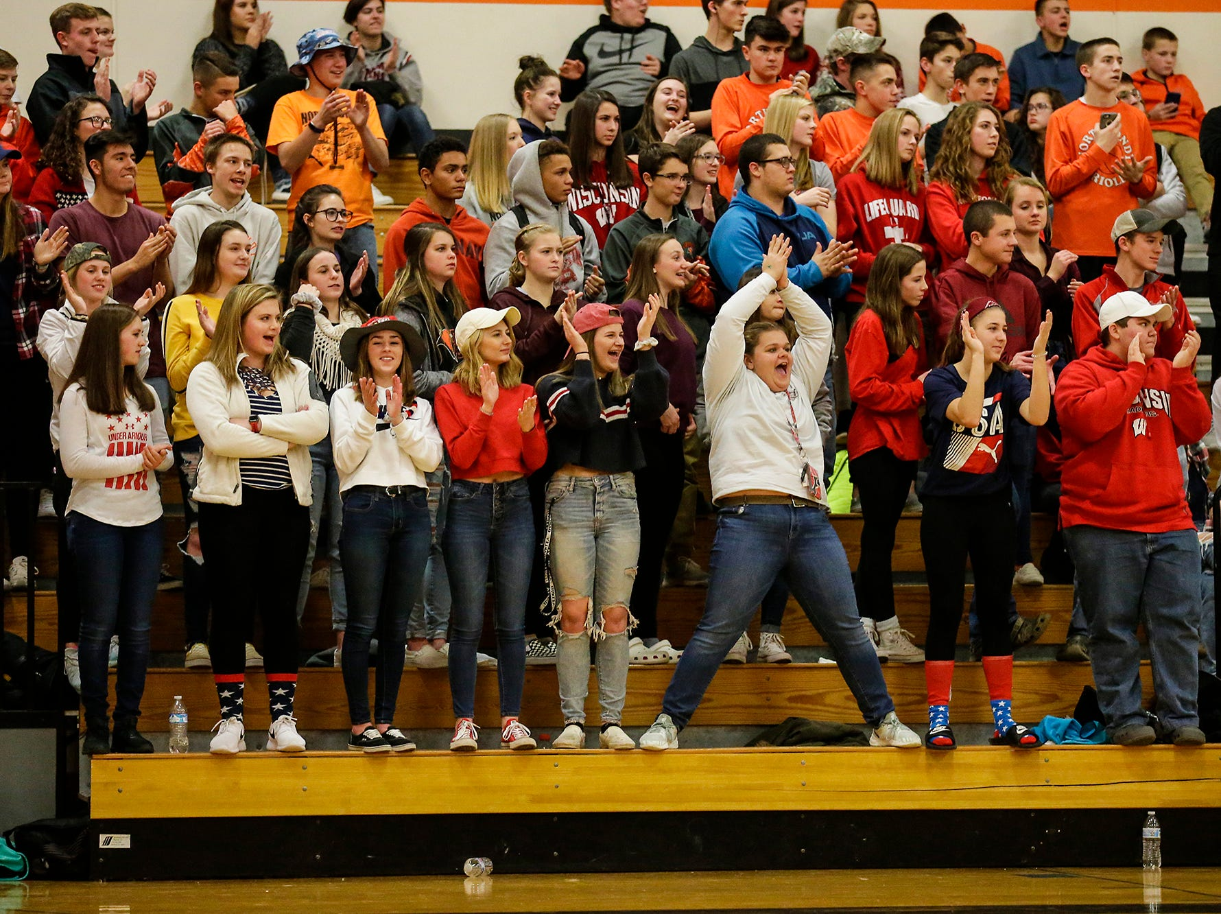 North Fond du Lac High School boys basketball fans react to a basket by Jacob Jaeger against St. Mary's Springs Academy during their game Friday, December 7, 2018 in North Fond du Lac, Wisconsin. Doug Raflik/USA TODAY NETWORK-Wisconsin