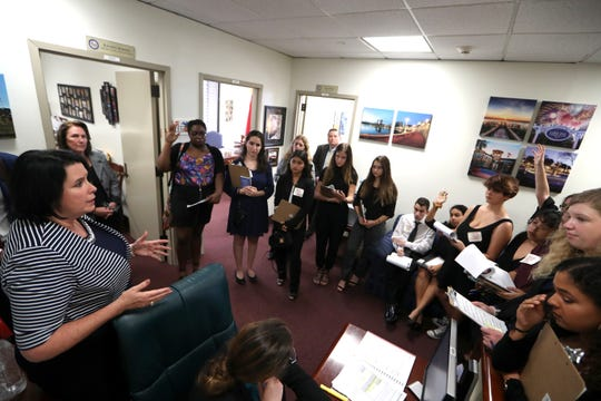 High school students from Broward County, including Stoneman Douglas, spoke with Senator Kelli Stargel, left, at the Capitol about gun control measures earlier this year.