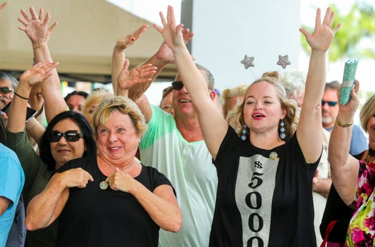 Kalyn Wolff, of Punta Gorda, wore her $5,000 dollar wheel marker shirt as she gets pumped for the start of tryouts. She grew up watching Wheel of Fortune with her grandmother and was excited for a chance to tryout.   Wheel of FortuneÕs Wheelmobile, the showÕs promotional vehicle, returned to the Fort Myers area for the first time in over a decade, searching for potential contestants to play on ÒAmericaÕs Game¨.Ó The first round of tryouts