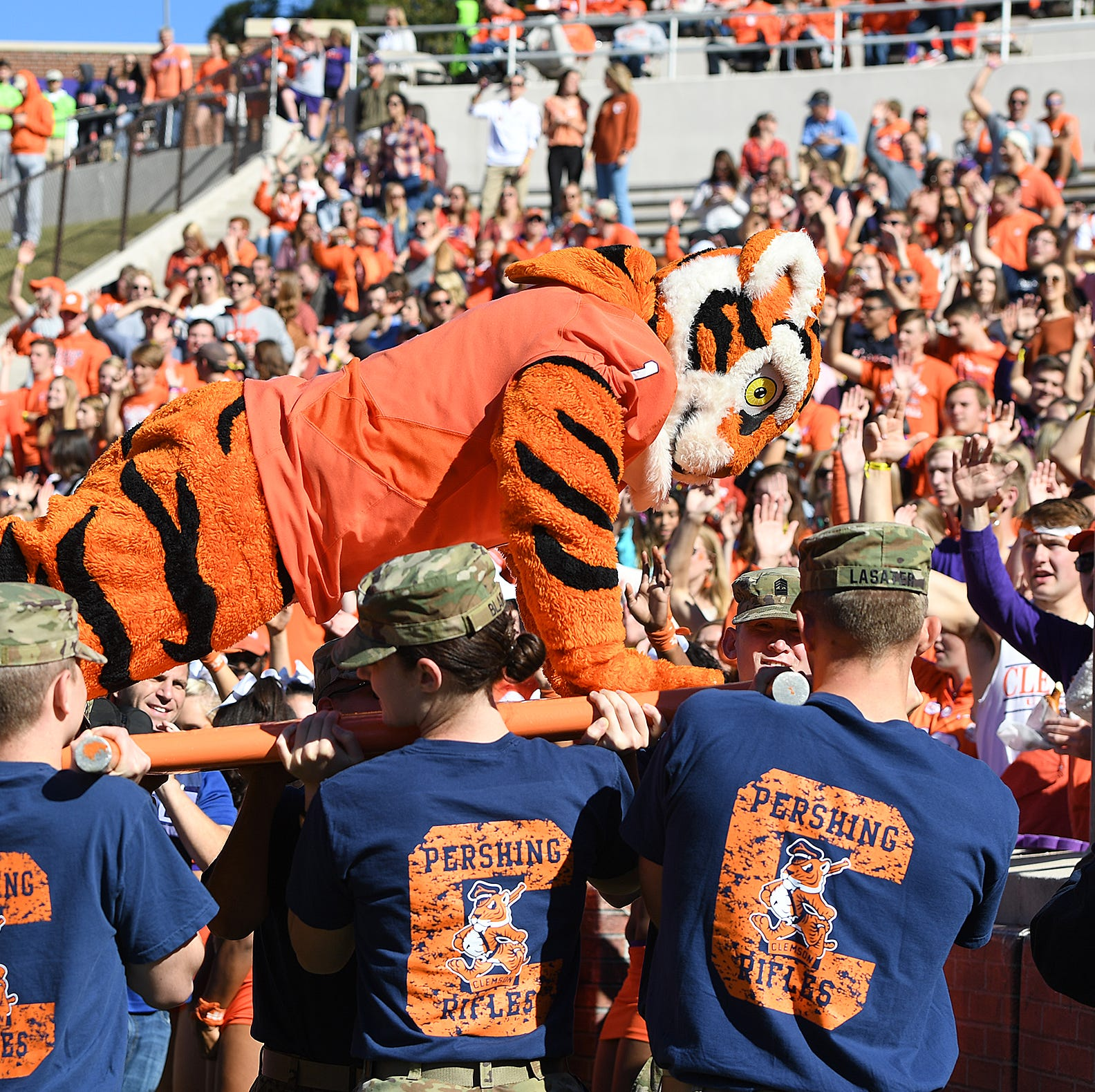 Tiger mascot getting strenuous workouts thanks to Clemson football team's prolific scoring