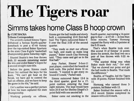 The Tribune's Curt Backa was there in Butte in early December, 1990, when the Simms Tigers won the Class B girls' basketball championship.
