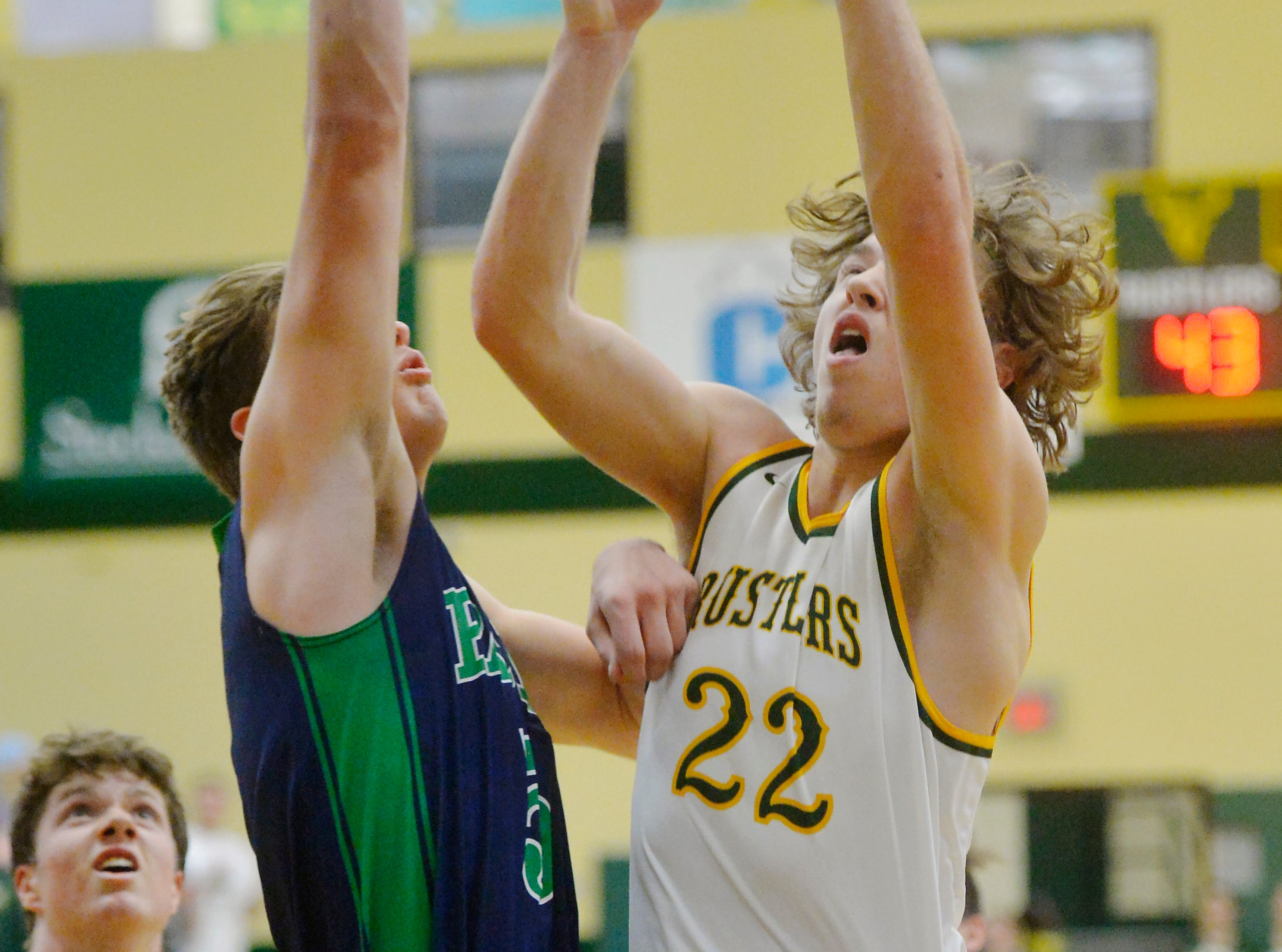 CMR's Keegan Barnes shoots a layup during Friday night's basketball game against Glacier in the CMR Fieldhouse.