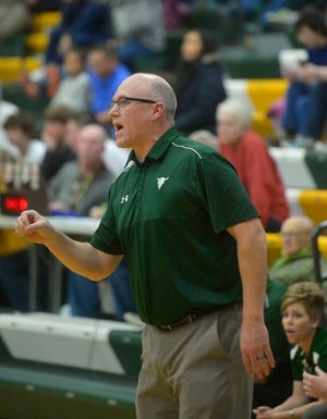 CMR coach John Cislo directs his players on the floor during an early-season basketball game against Glacier in the CMR Fieldhouse.