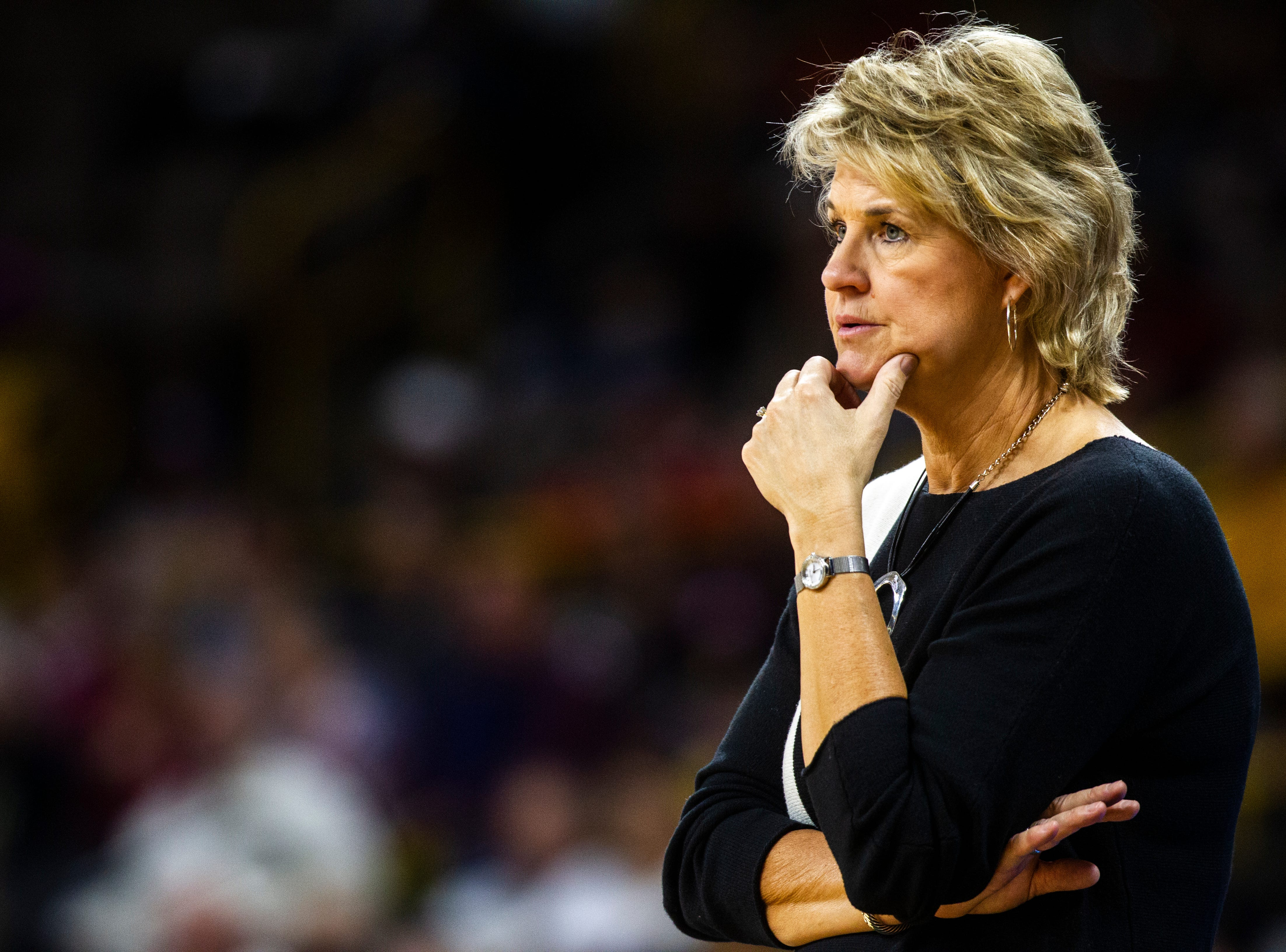 Iowa head coach Lisa Bluder looks on during a NCAA women's basketball game on Saturday, Dec. 8, 2018, at Carver-Hawkeye Arena in Iowa City.