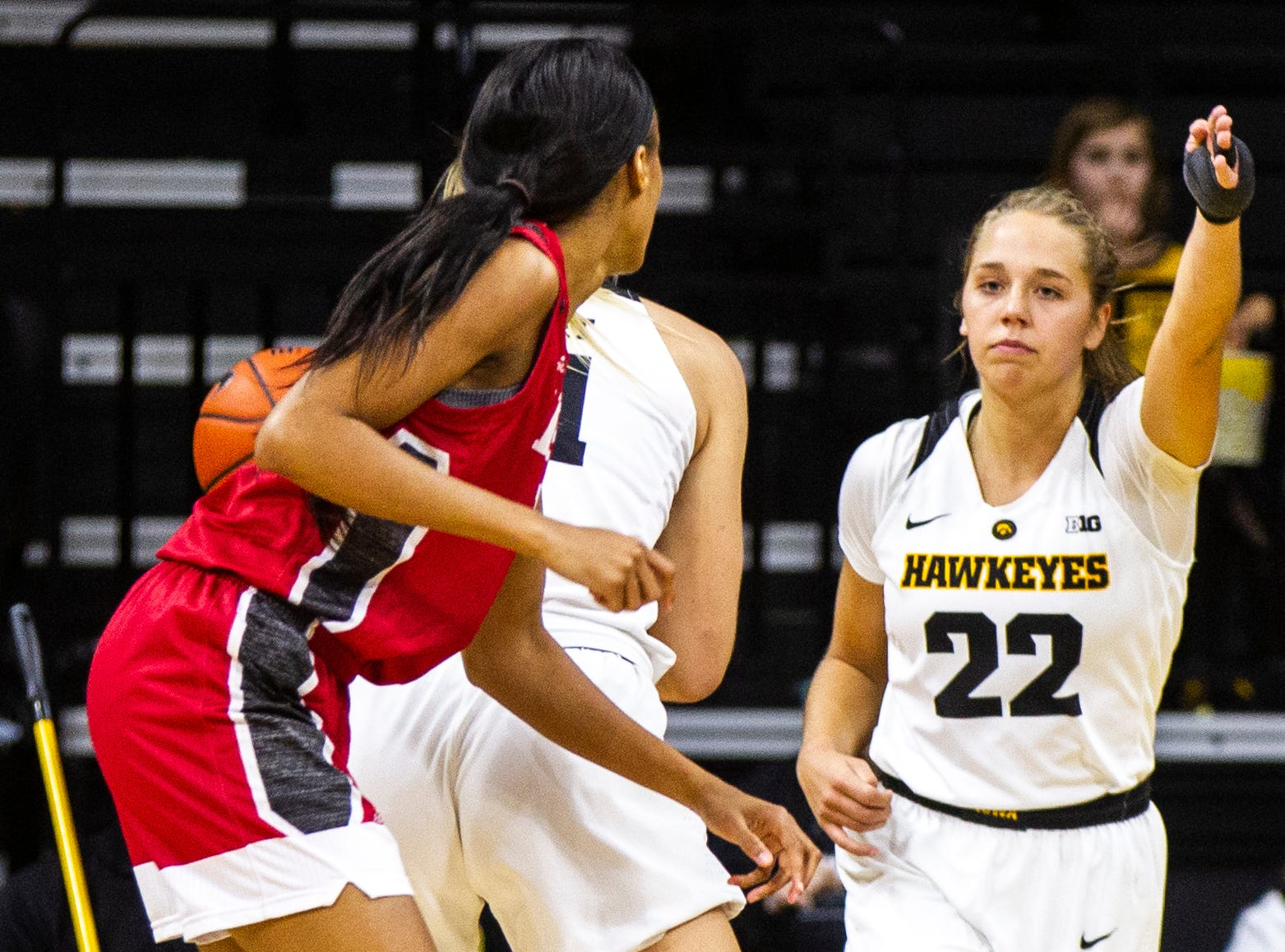 Iowa guard Kathleen Doyle (22) gestures for possesion during a NCAA women's basketball game on Saturday, Dec. 8, 2018, at Carver-Hawkeye Arena in Iowa City.