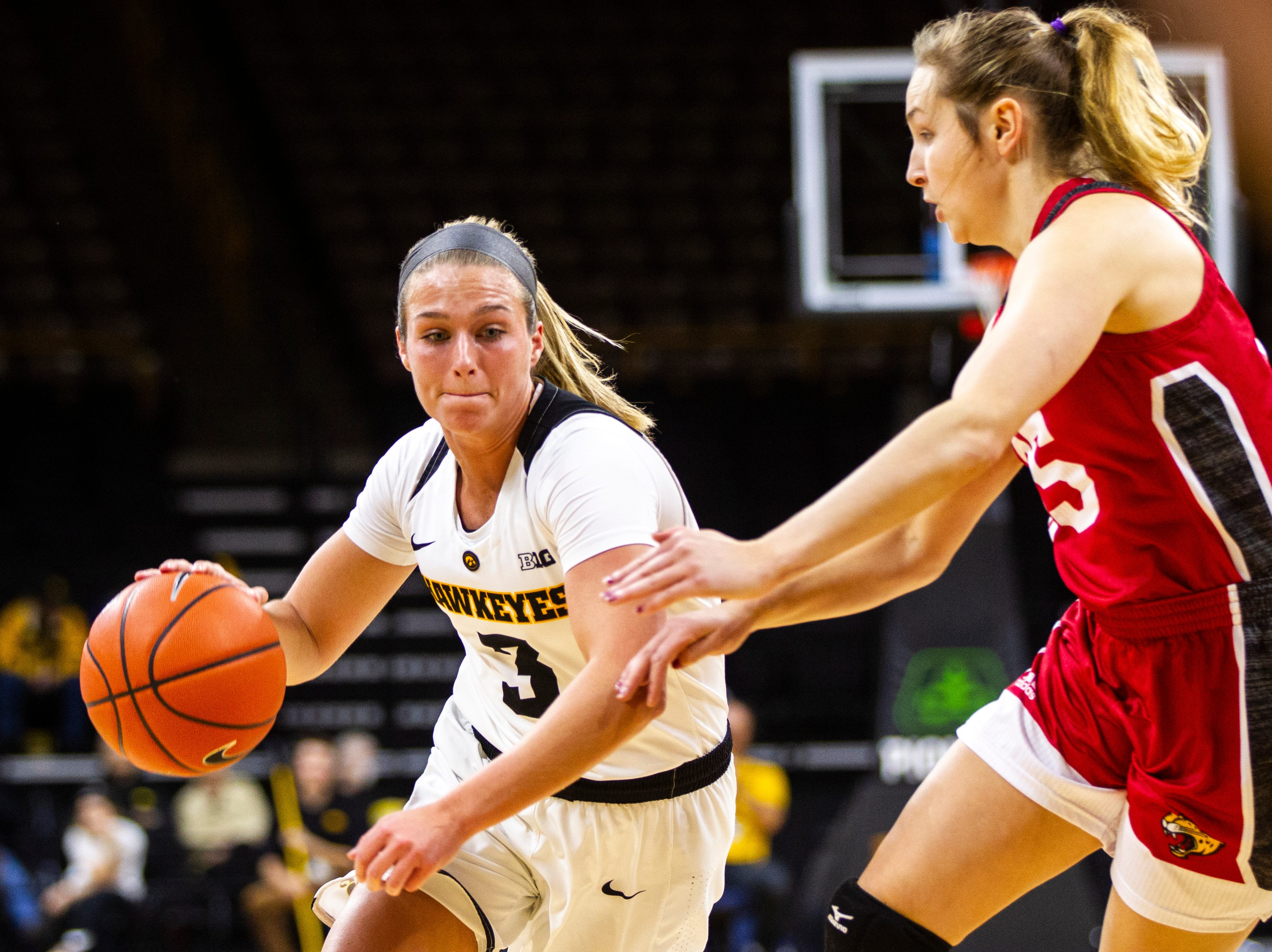 Iowa guard Makenzie Meyer (3) drives to the basket during a NCAA women's basketball game on Saturday, Dec. 8, 2018, at Carver-Hawkeye Arena in Iowa City.