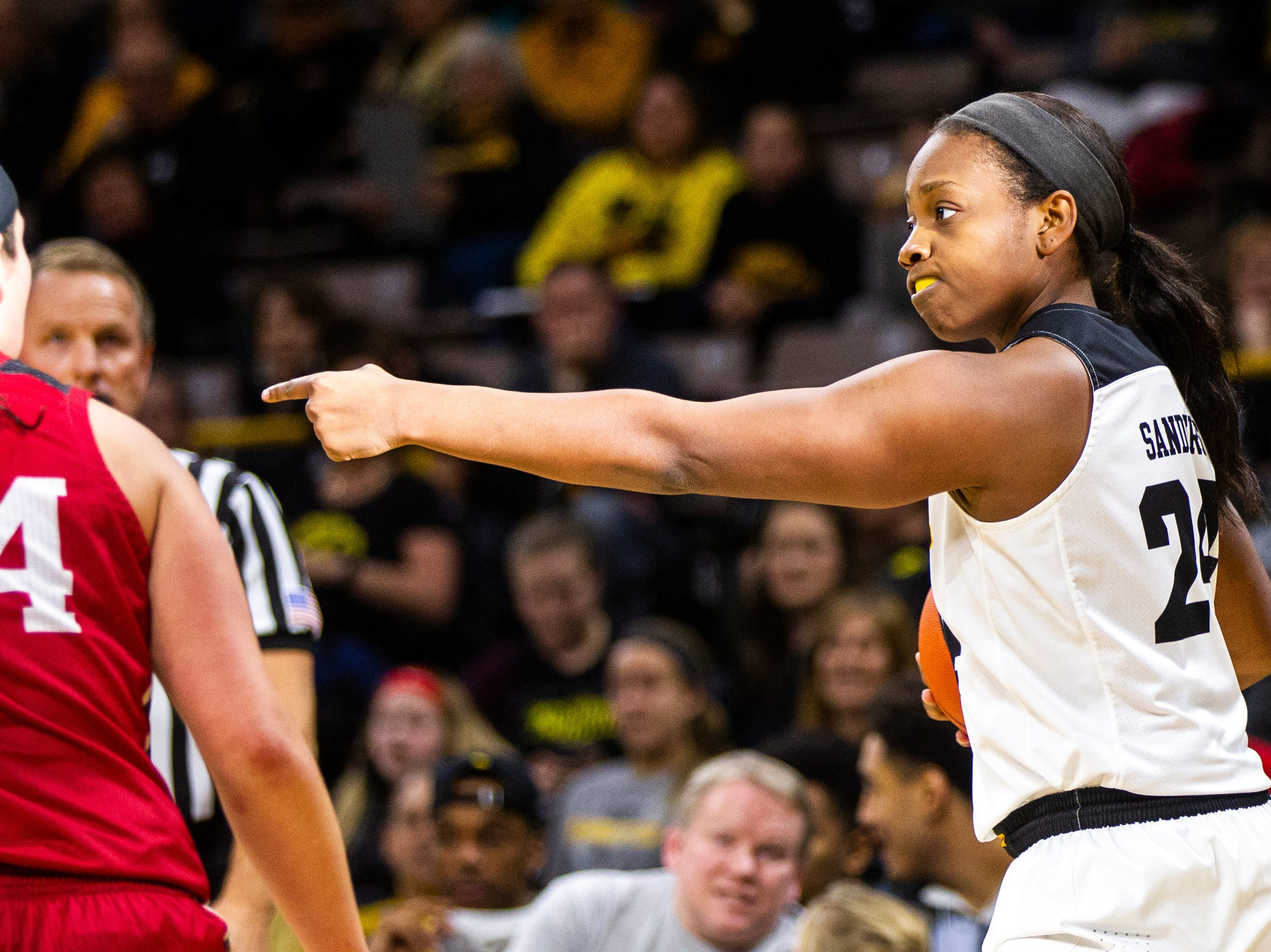 Iowa guard Zion Sanders (24) calls out to teammates during a NCAA women's basketball game on Saturday, Dec. 8, 2018, at Carver-Hawkeye Arena in Iowa City.