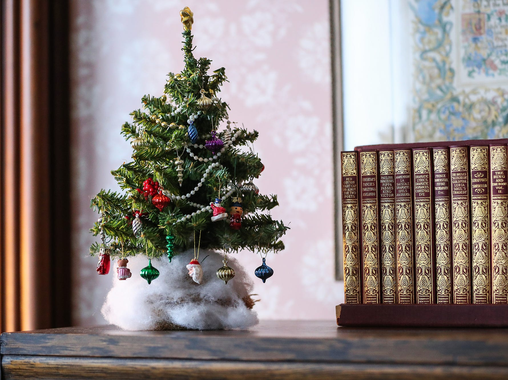 The James Whitcomb Riley museum home is decorated for a Victorian Christmas open house in Indianapolis, Saturday, Dec. 8, 2018.