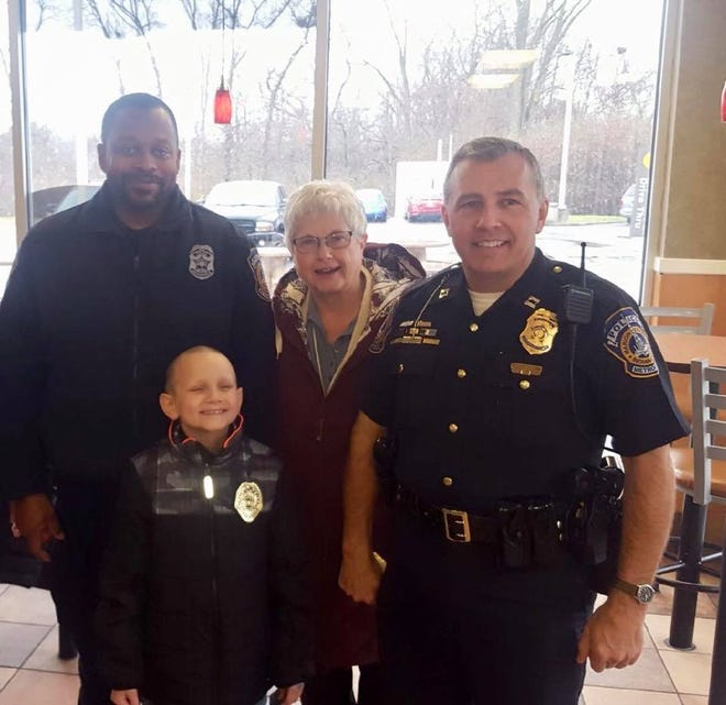 Sebastian, a 7-year-old boy fighting cancer, was sworn into the ranks as an honorary officer by officers from the Southwest District of the Indianapolis Metropolitan Police Department on Thursday, Dec. 6, 2018.