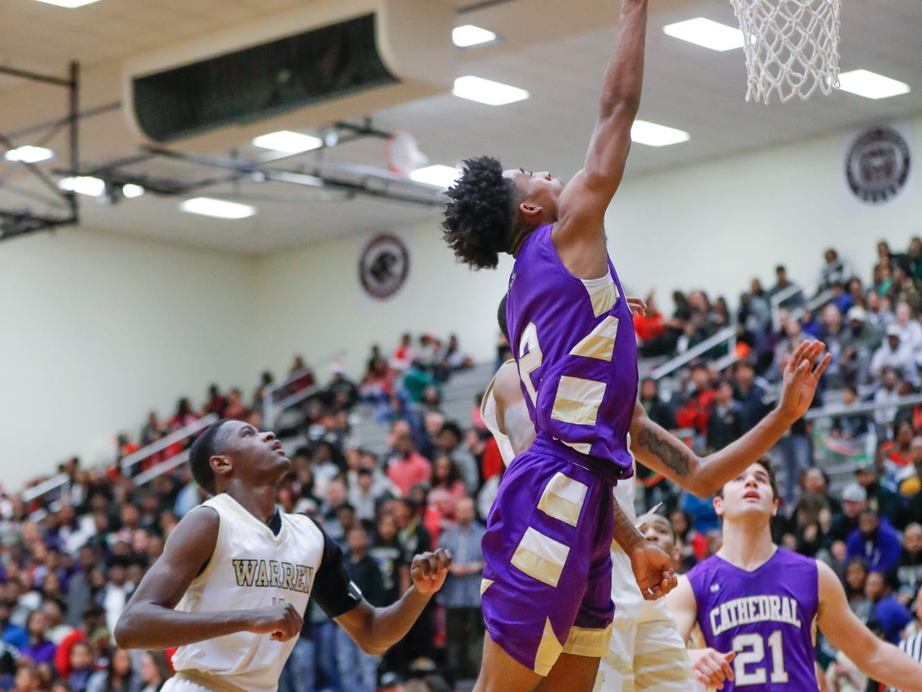 Cathedral High School's guard Armaan Franklin (2) hits a layup during a varsity boys basketball game between Cathedral High School and Warren Central High School at Warren Central on Friday, Dec. 7, 2018.