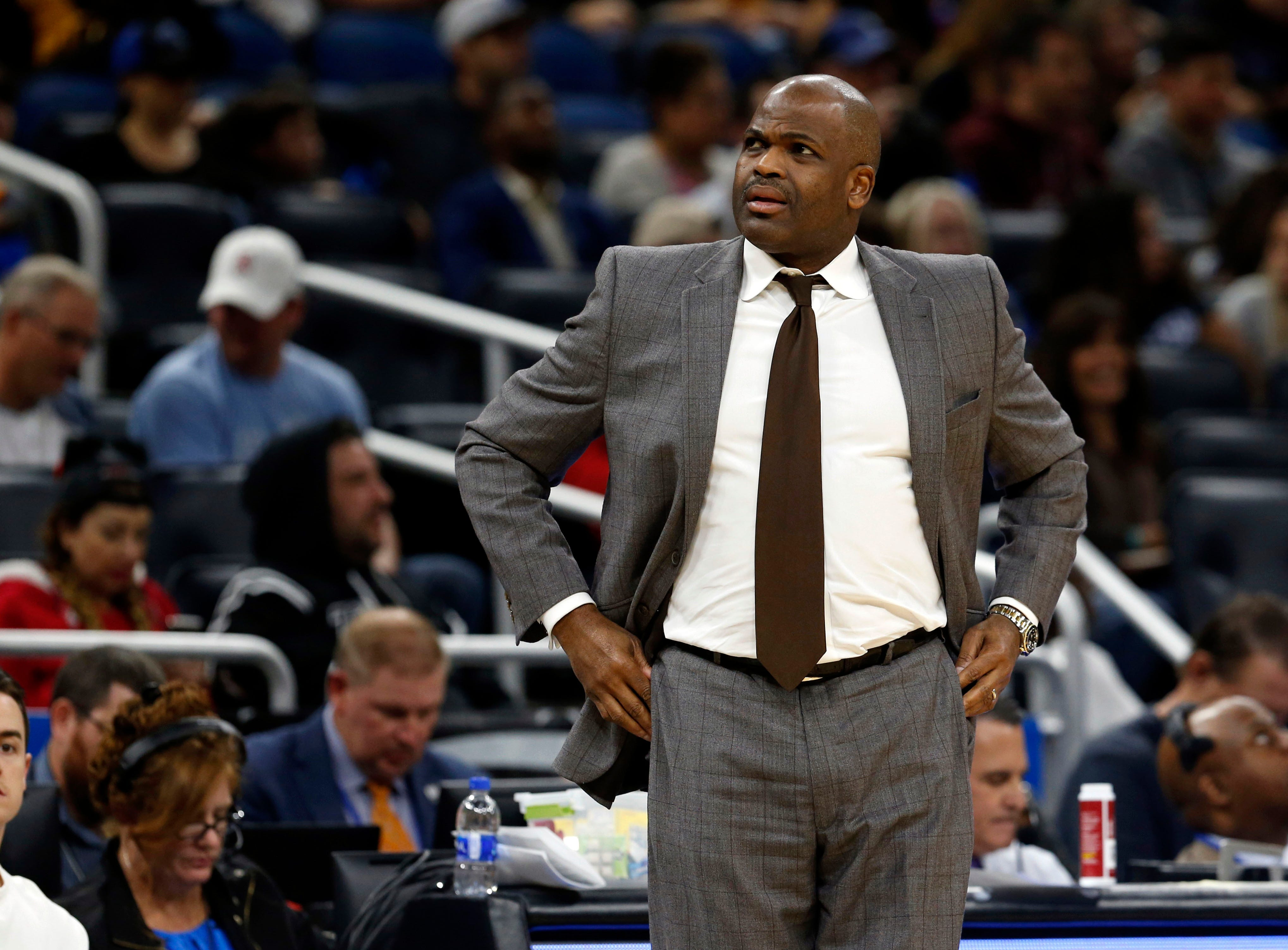 Dec 7, 2018; Orlando, FL, USA; Indiana Pacers head coach Nate McMillan looks on against the Orlando Magic during the first quarter at Amway Center. Mandatory Credit: Kim Klement-USA TODAY Sports