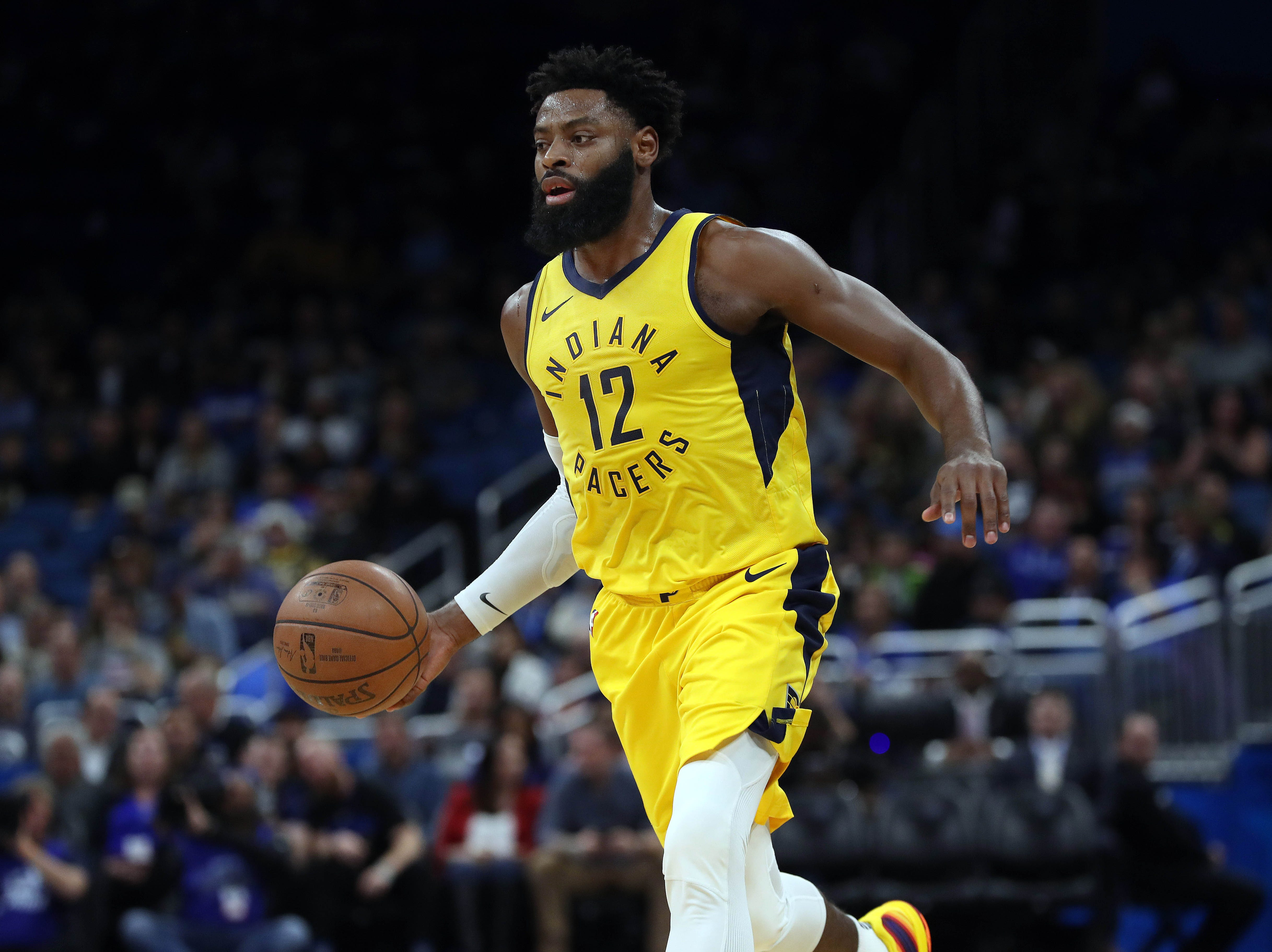 wDec 7, 2018; Orlando, FL, USA; Indiana Pacers guard Tyreke Evans (12) drives to the basket against the Orlando Magic during the first quarter at Amway Center. Mandatory Credit: Kim Klement-USA TODAY Sports