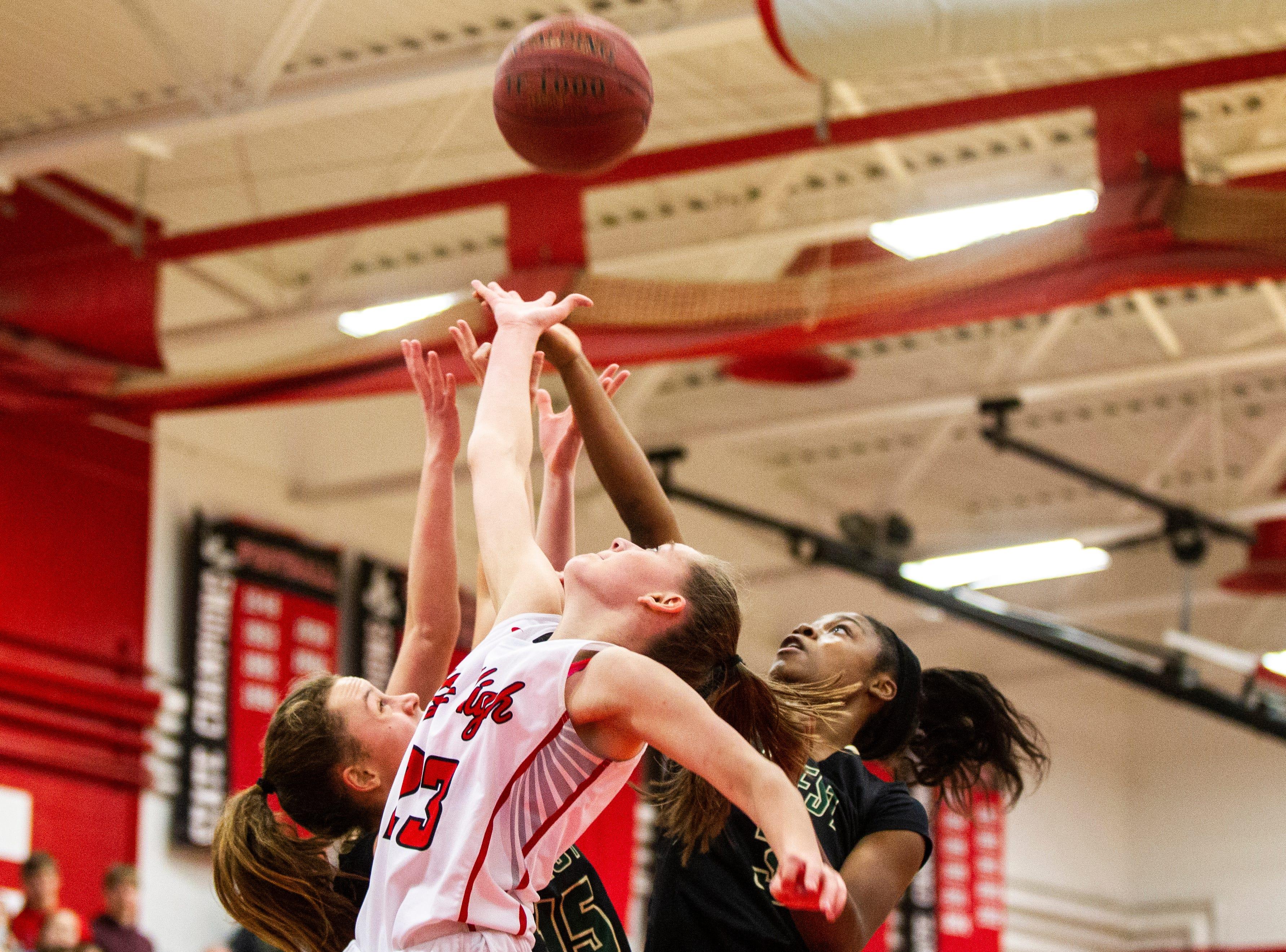 Iowa City High's Aubrey Joens (23) attempts a basket during a Class 5A girls basketball game on Friday, Dec. 7, 2018, at City High School in Iowa City.