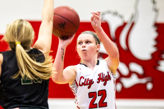 Iowa City High's Paige Rocca (22) shoots a 3-point basket during a Class 5A girls basketball game on Friday, Dec. 7, 2018, at City High School in Iowa City.