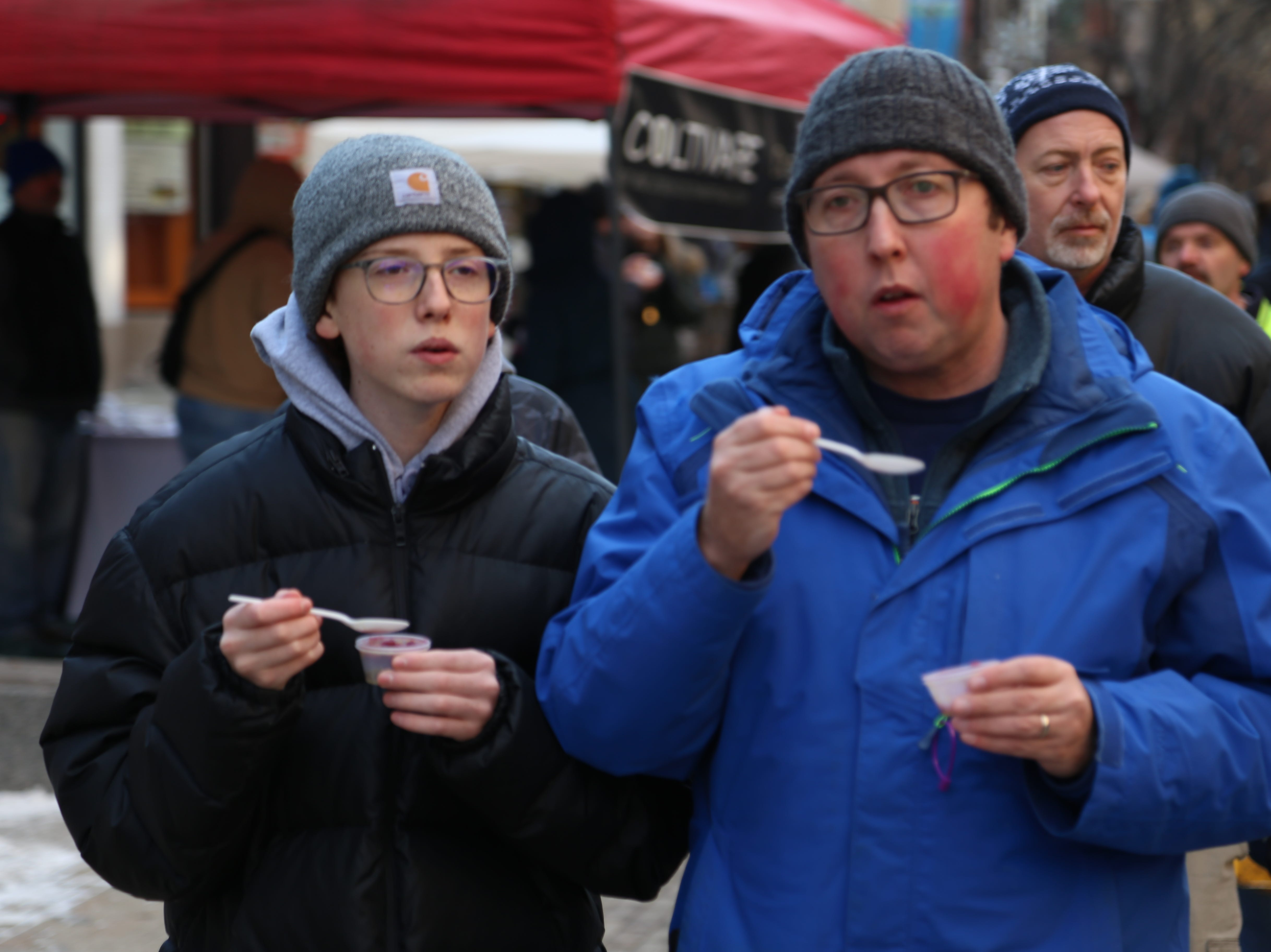 Residents and visitors ate chowder and other foods during the 2018 Ithaca Ice Fest.