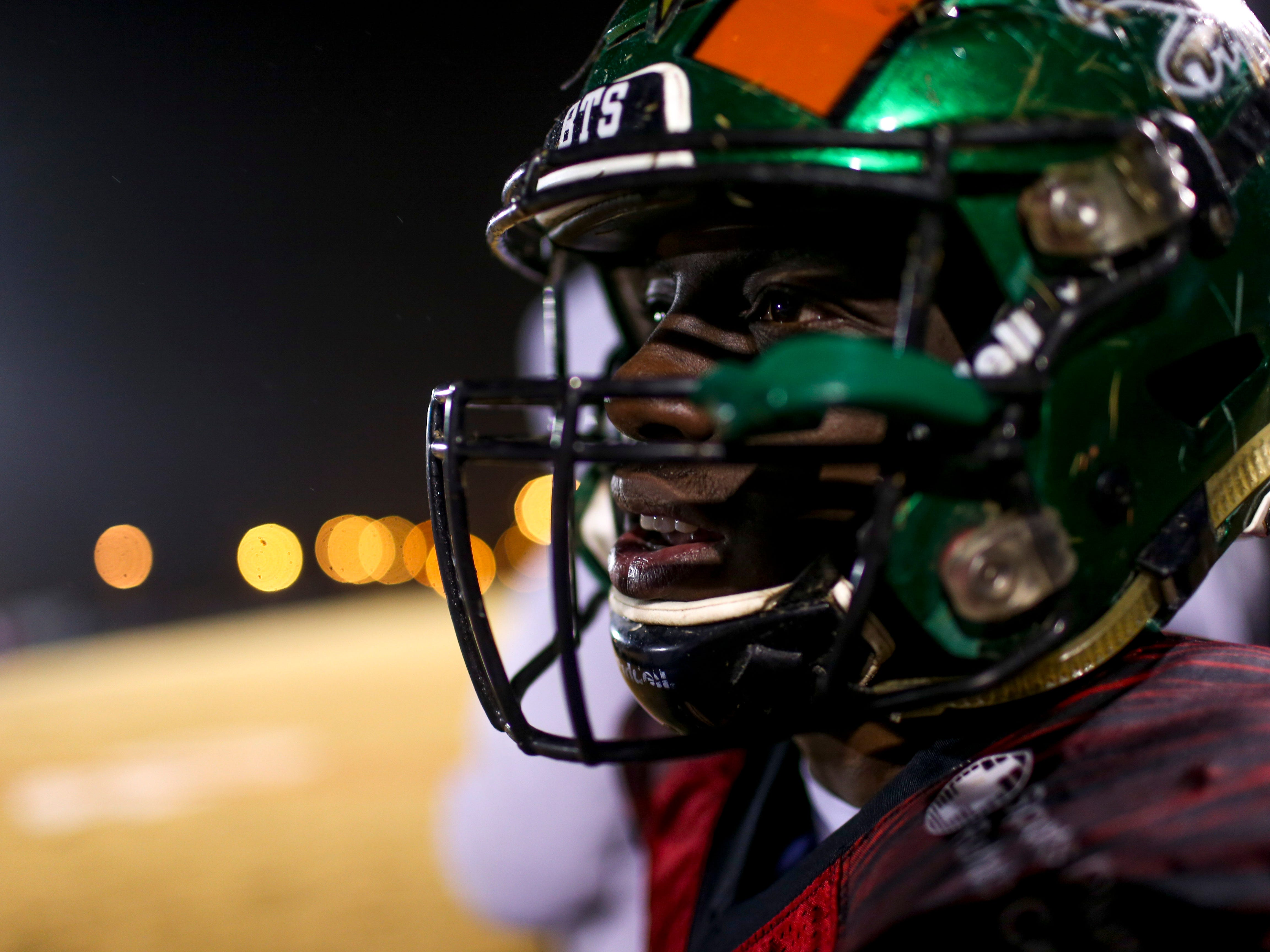 Lake Co's Dezmon Johnson (23) looks out over the field at plays unfolding during the West Tennessee All-Star football game at University School of Jackson in Jackson, Tenn., on Friday, Dec. 7, 2018.