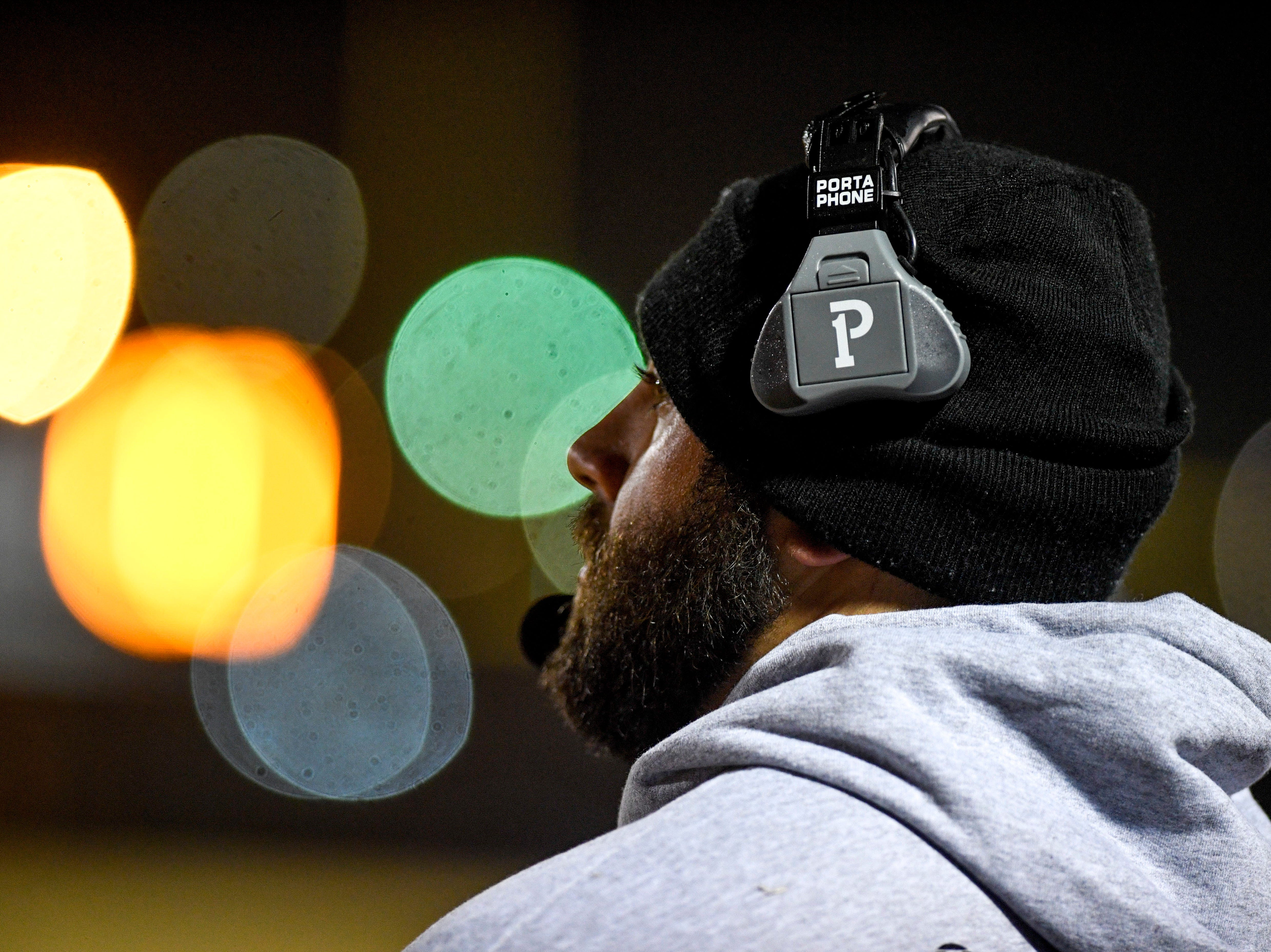 South Side's head coach Tyler Reeder looks out over the field during the West Tennessee All-Star football game at University School of Jackson in Jackson, Tenn., on Friday, Dec. 7, 2018.