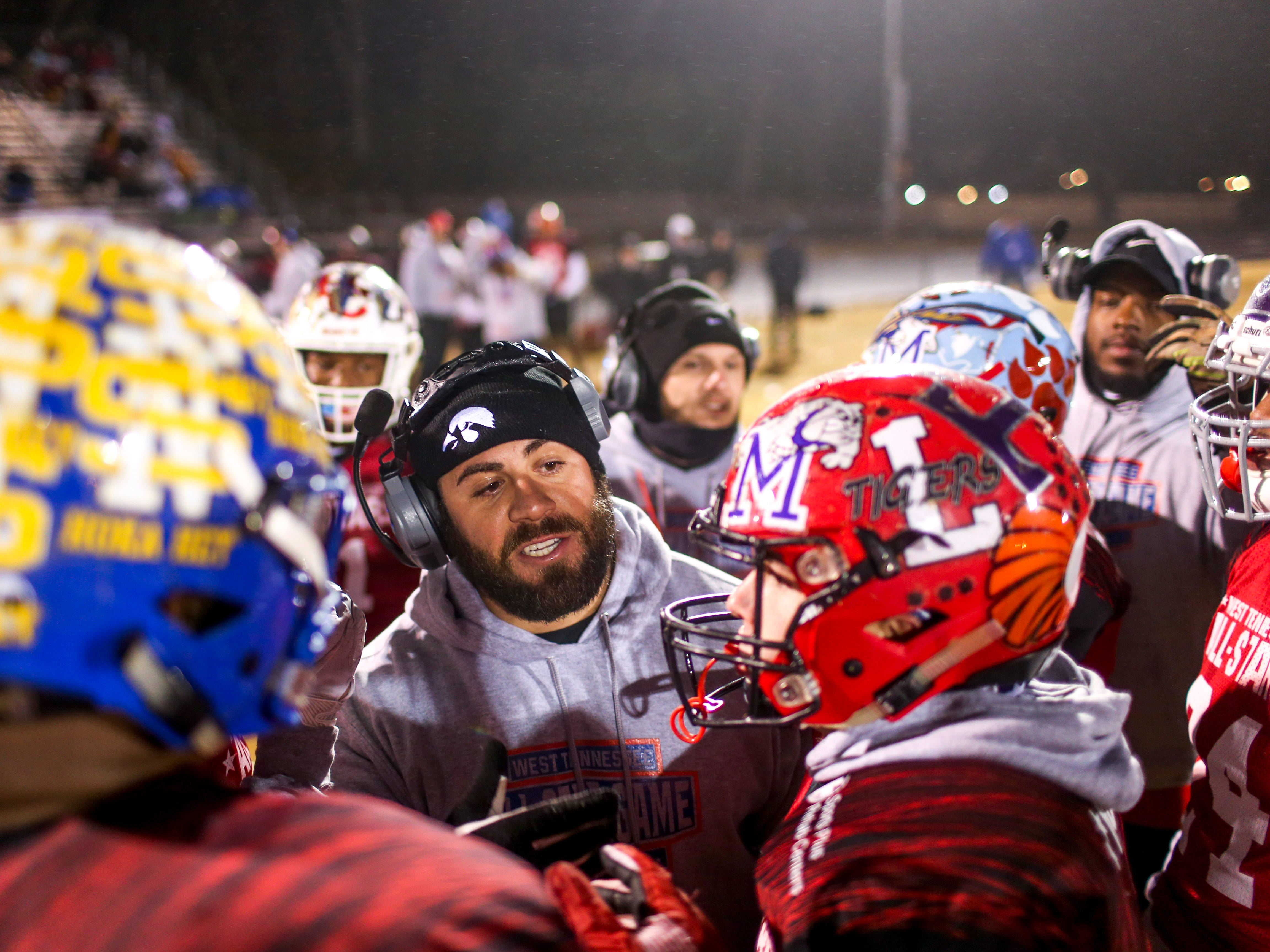 South Side head coach Tyler Reeder speaks to his team during the West Tennessee All-Star football game at University School of Jackson in Jackson, Tenn., on Friday, Dec. 7, 2018.