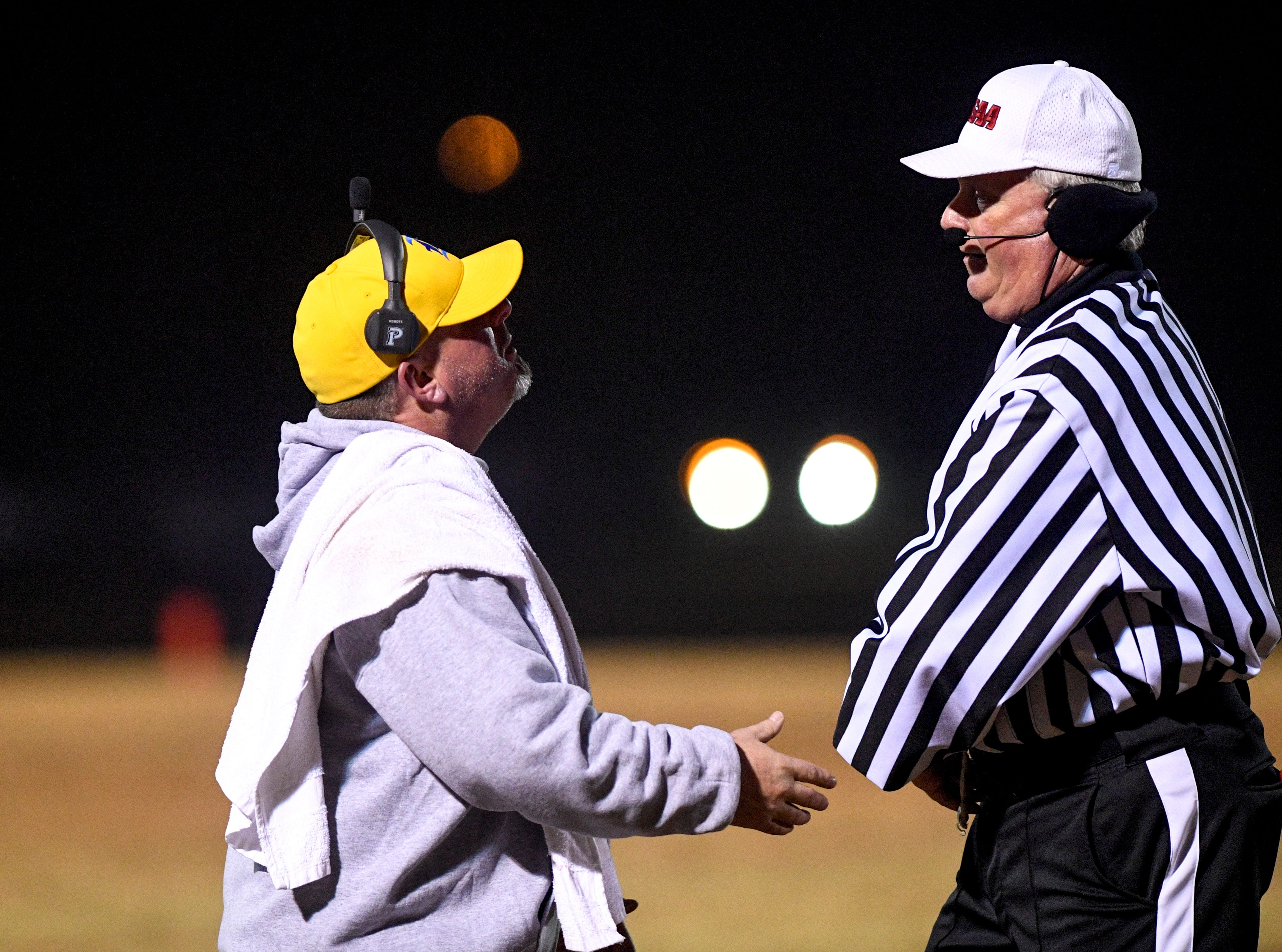 Riverside's head coach Johnnie Frost objects to a referee during the West Tennessee All-Star football game at University School of Jackson in Jackson, Tenn., on Friday, Dec. 7, 2018.