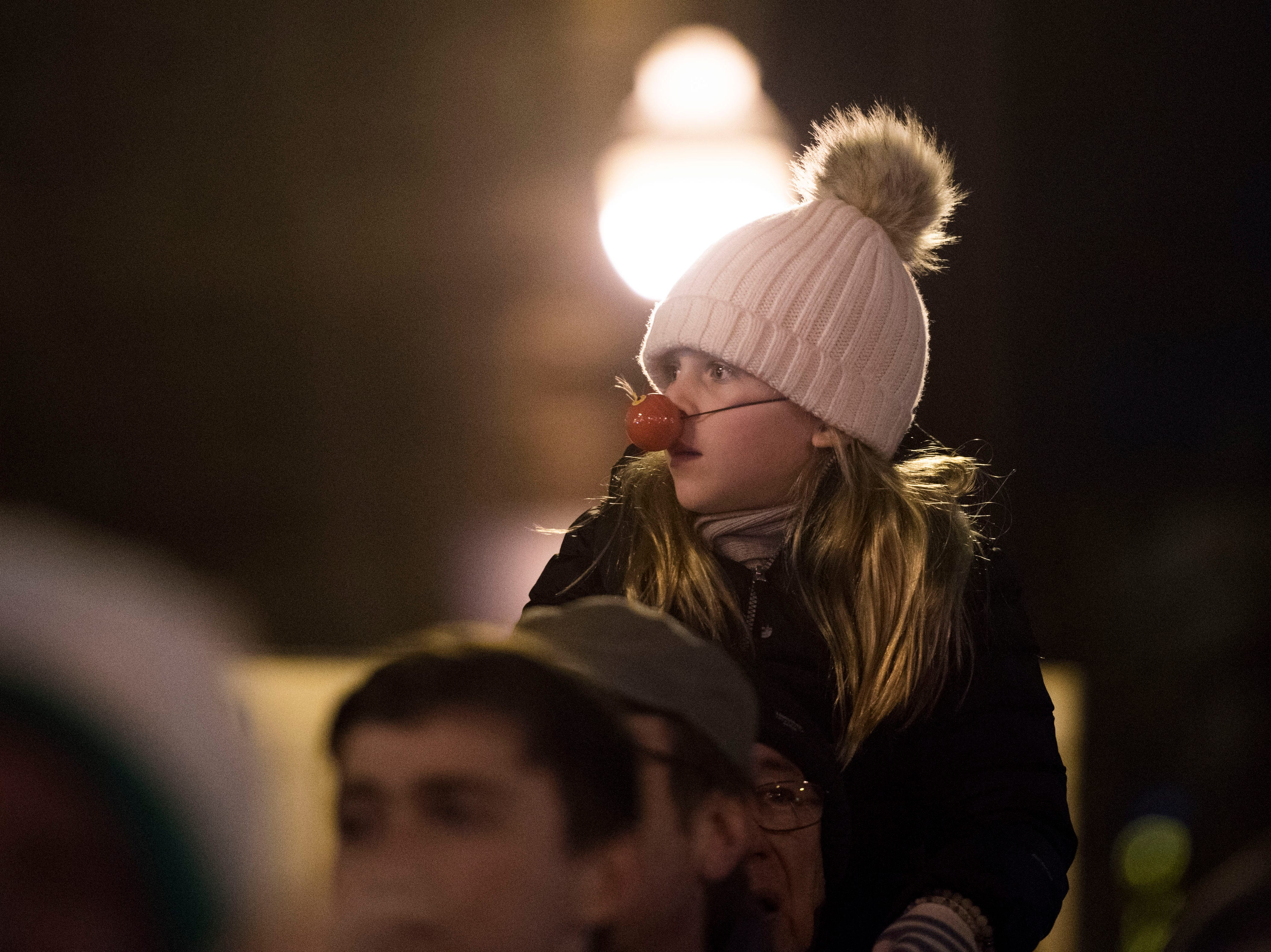 Festive spectators watch the annual WIVK Christmas Parade in downtown Knoxville Friday, Dec. 7, 2018.