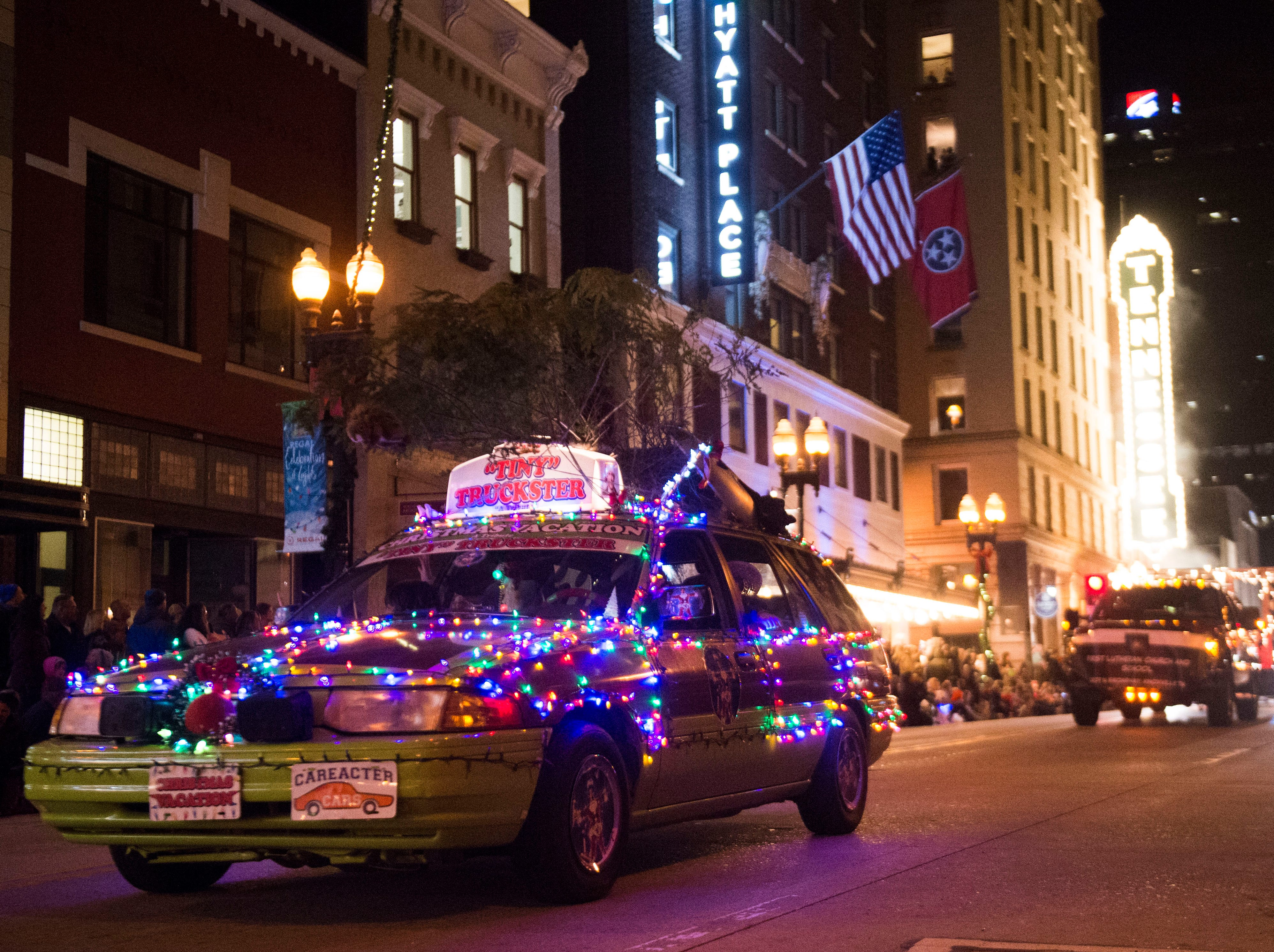 Floats drive down Gay Street during the annual WIVK Christmas Parade in downtown Knoxville Friday, Dec. 7, 2018.