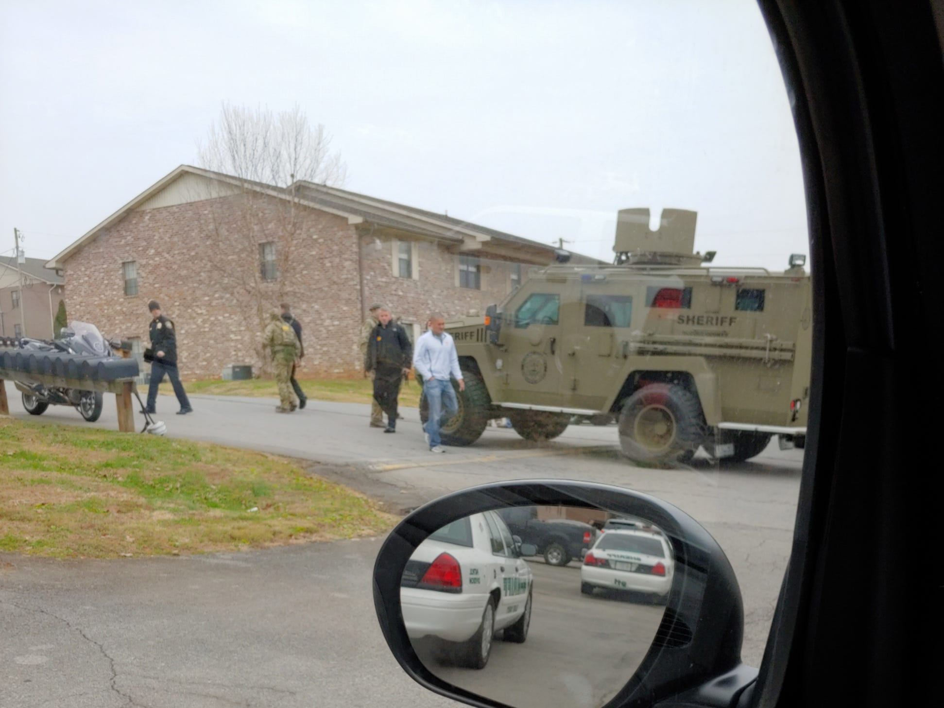 Blount County Sheriff's Office SWAT team is on the scene at a standoff situation at Riverside Manor Apartments Saturday, Dec. 8, 2018.