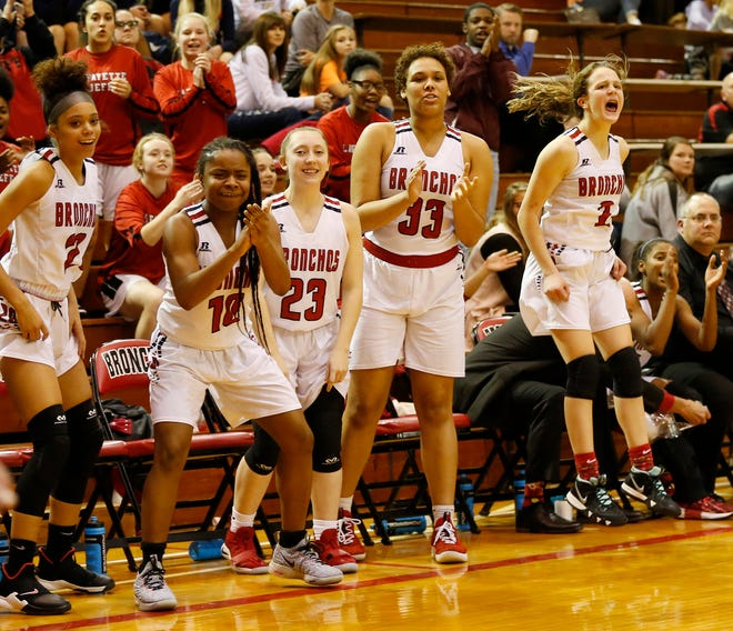 The Lafayette Jeff bench erupts after the Bronchos sink a free throw in overtime against Harrison Friday, December 7, 2018, at Lafayette Jeff. Jeff defeated Harrison 62-54OT.