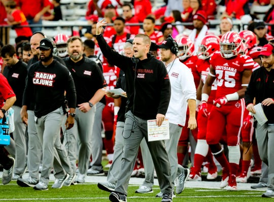 UL football coach Billy Napier shouts to his team during last season's game against South Alabama.