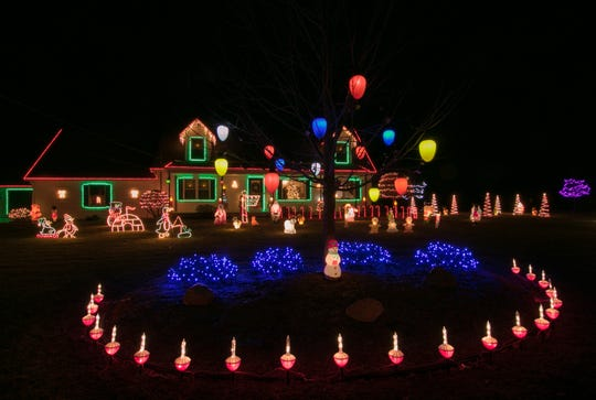 The home of Bill and Karlene Oatman at 375 E. Barron Road in  Howell Township shown Thursday, Dec. 6, 2018. The Oatman's won this year's Livingston Daily Christmas Light Tour contest.