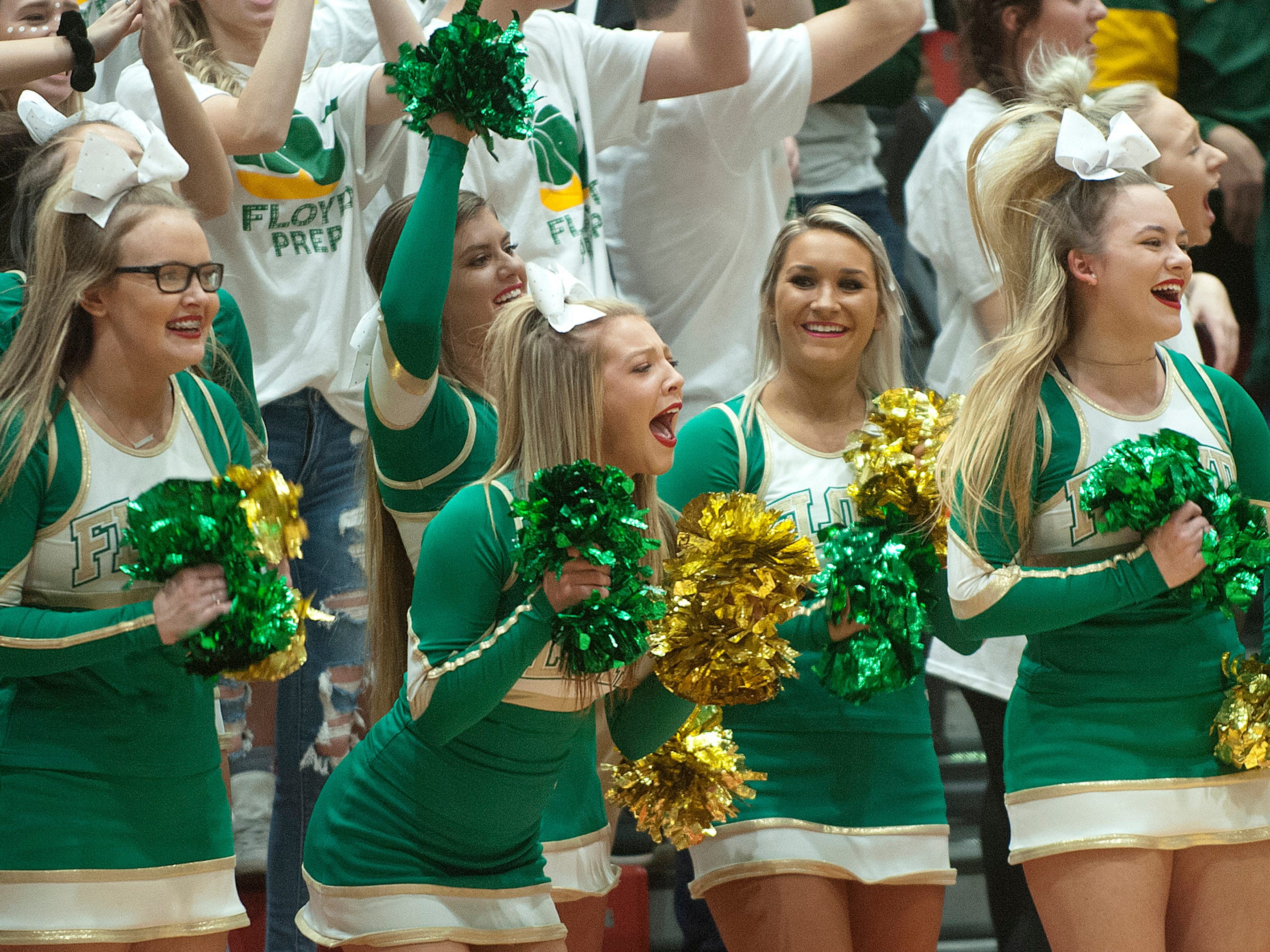 Floyd Central cheerleaders react to one of their players scoring.07 December 2018