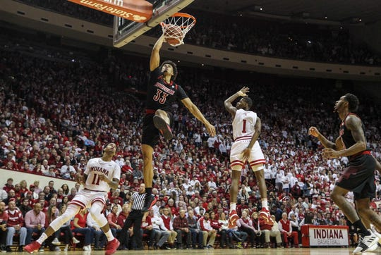 Louisville's Jordan Nwora slams down two against Indiana Saturday, Dec. 8, 2018 at Simon Skjodt Assembly Hall in Bloomington, Ind.